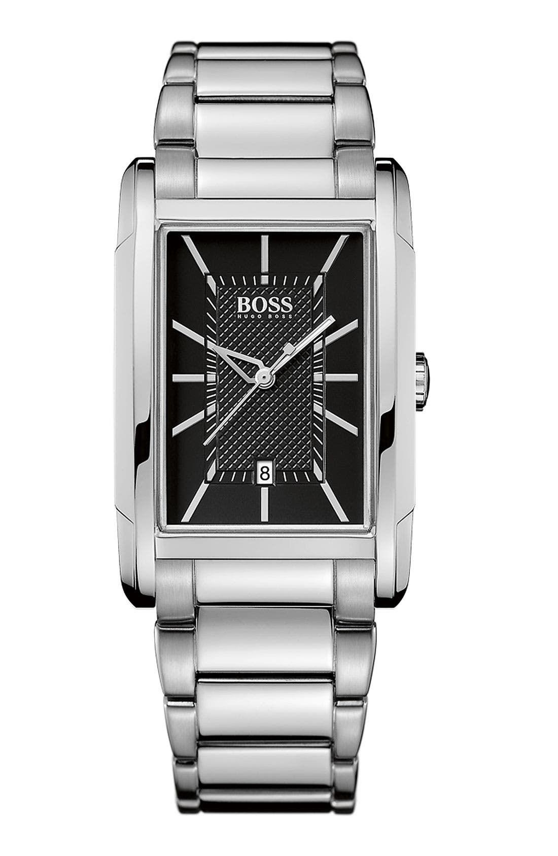 Main Image - BOSS HUGO BOSS Large Rectangular Black Dial Watch, 30mm x 36mm