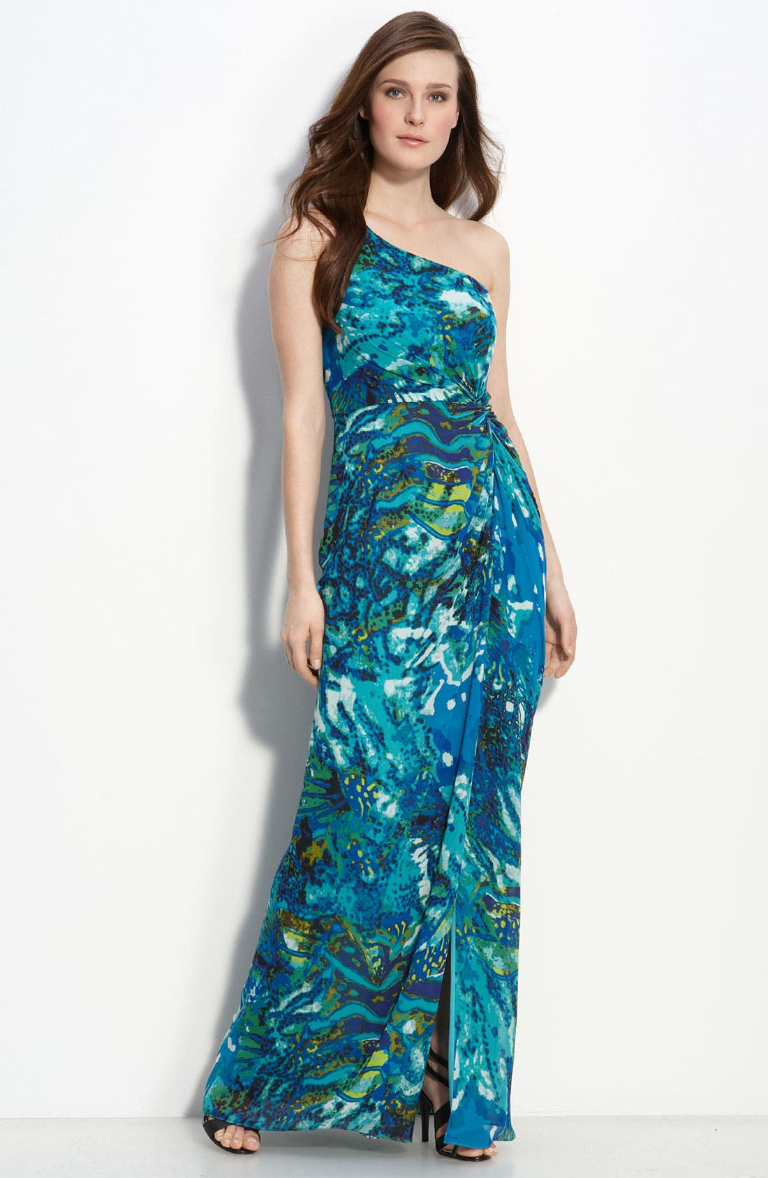 Main Image - Adrianna Papell One Shoulder Chiffon Gown (Petite)