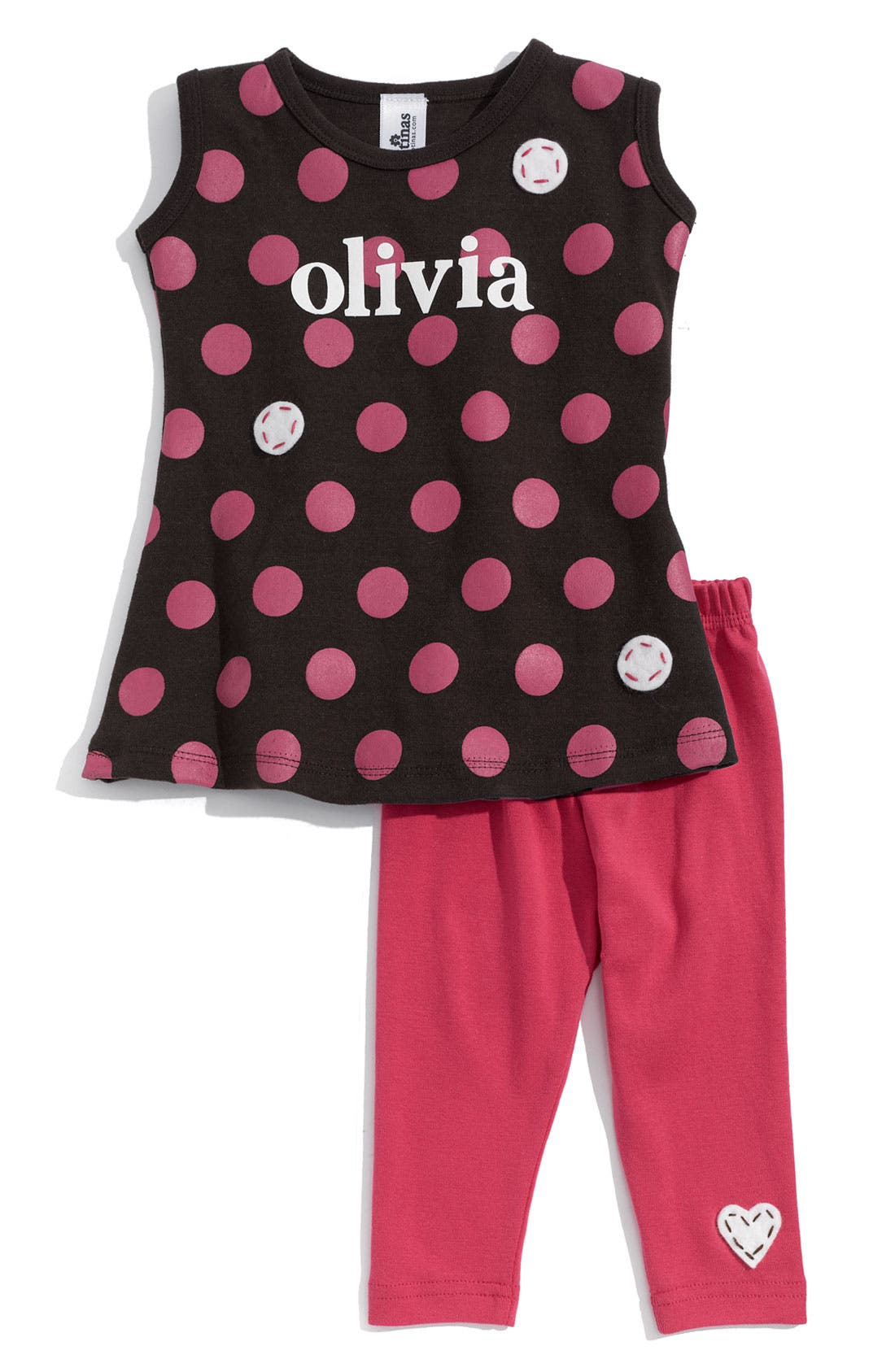 Alternate Image 1 Selected - Two Tinas Personalized Dress & Leggings Set (Baby Girls)