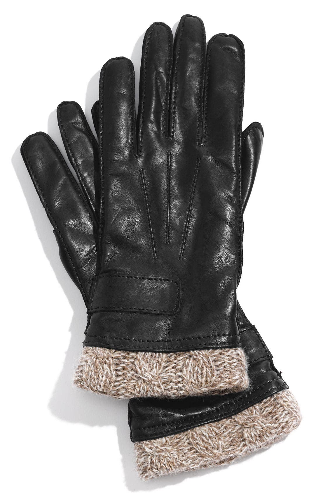 Main Image - Tarnish Knit Cuff Leather Gloves