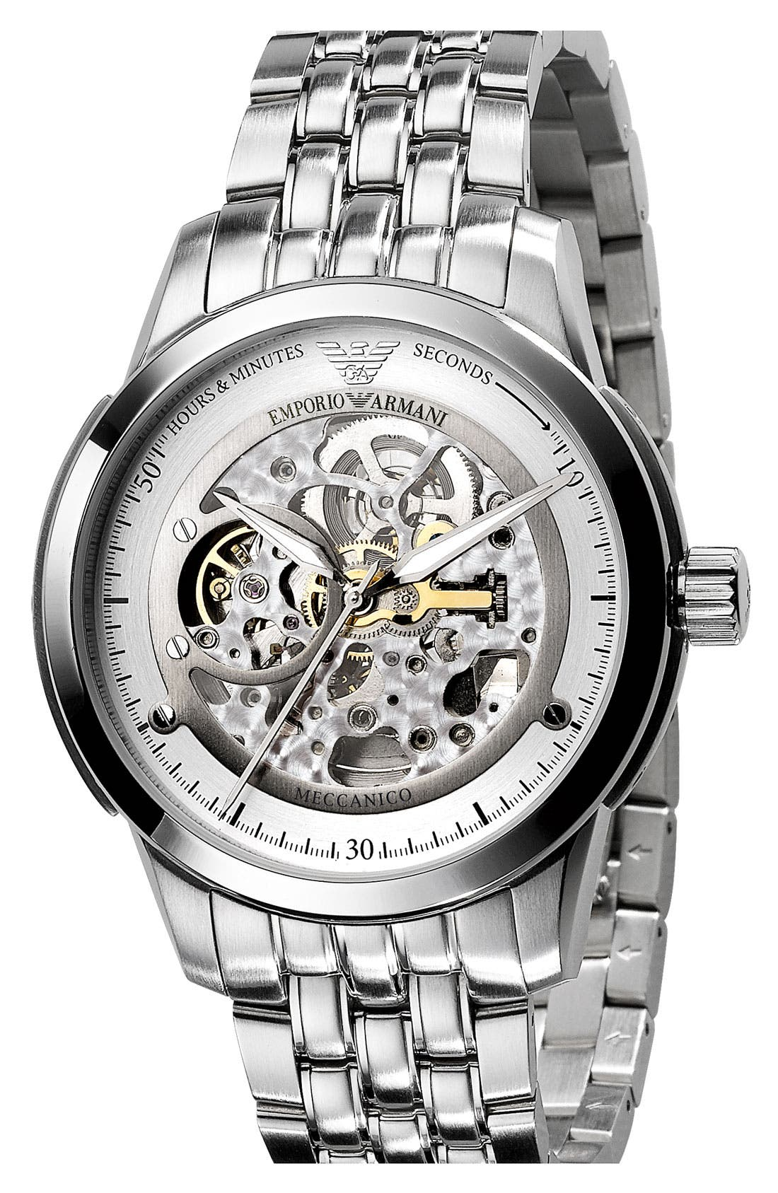 Alternate Image 1 Selected - Emporio Armani 'Meccanico' Automatic Round Watch