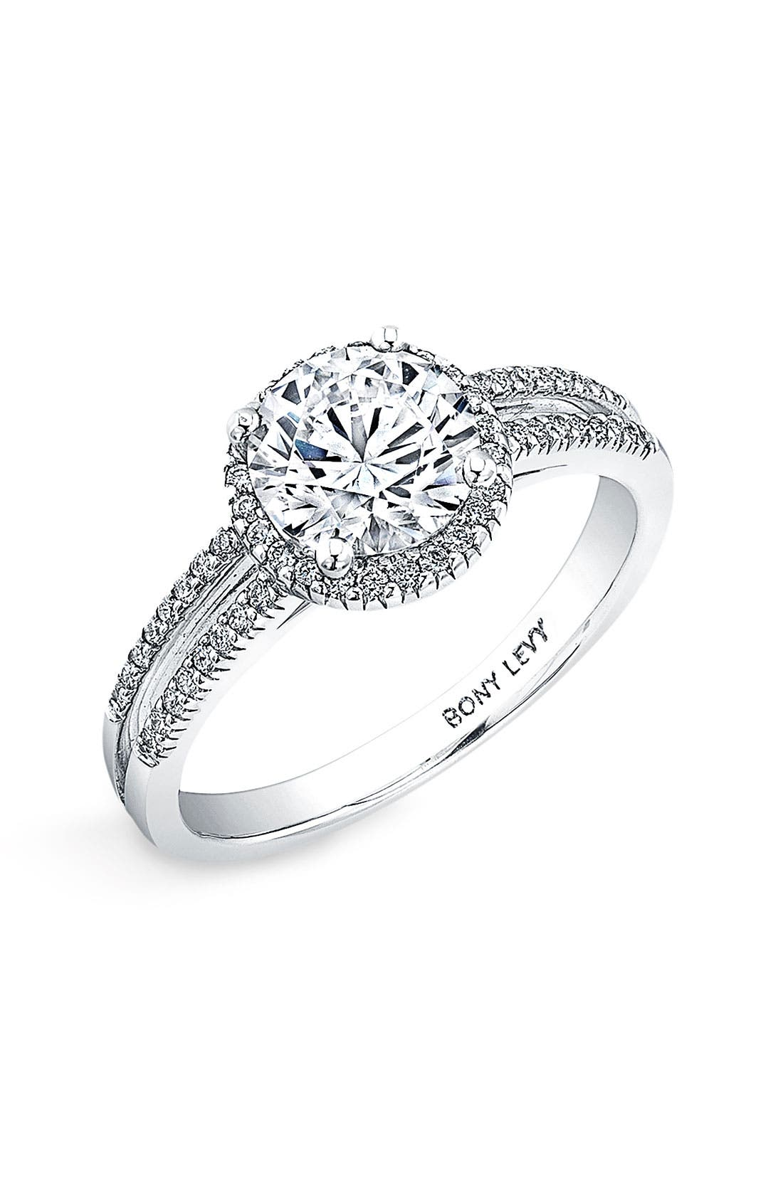 Alternate Image 1 Selected - Bony Levy Pavé Diamond Two-Row Engagement Ring Setting (Nordstrom Exclusive)