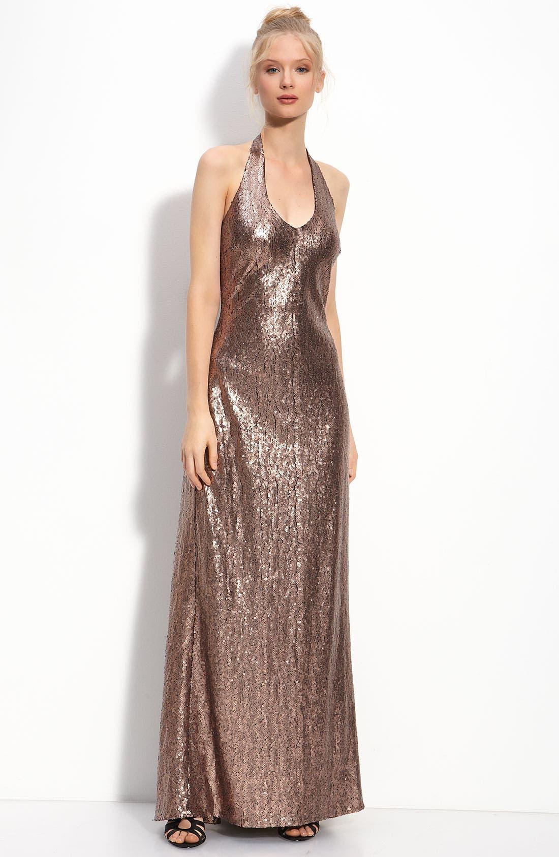 Alternate Image 1 Selected - JS Boutique Sequin Halter Gown