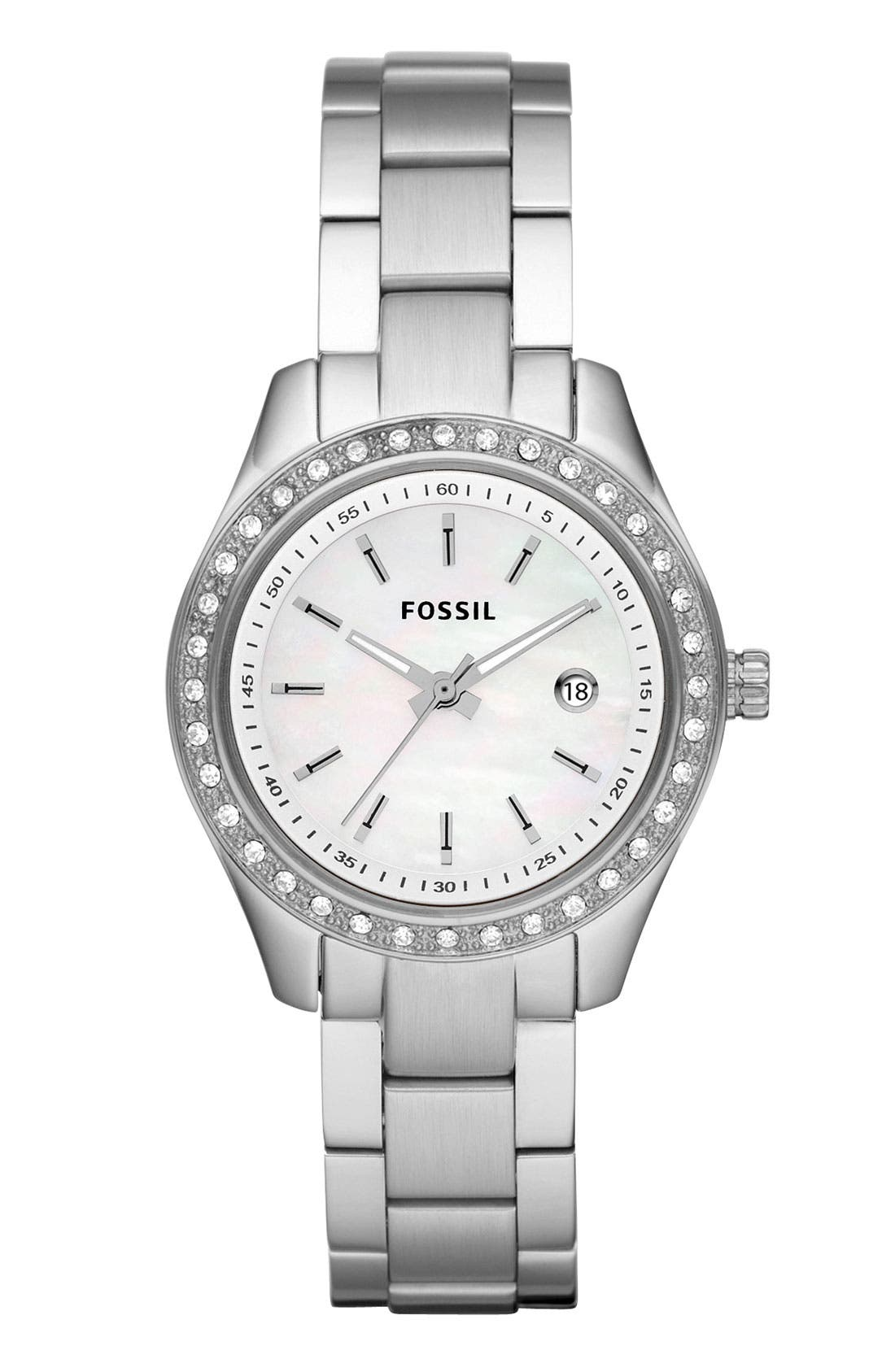 Alternate Image 1 Selected - Fossil 'Mini Stella' Crystal Bracelet Watch, 30mm