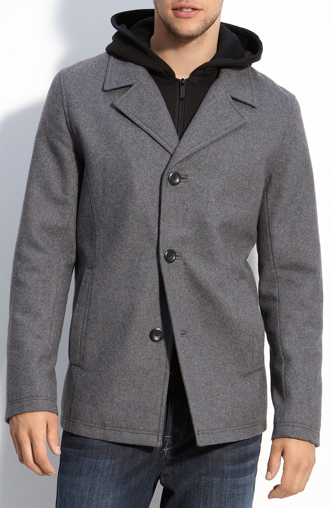 Main Image - Black Rivet Trim Fit Single Breasted Peacoat with Removable Hooded Layer