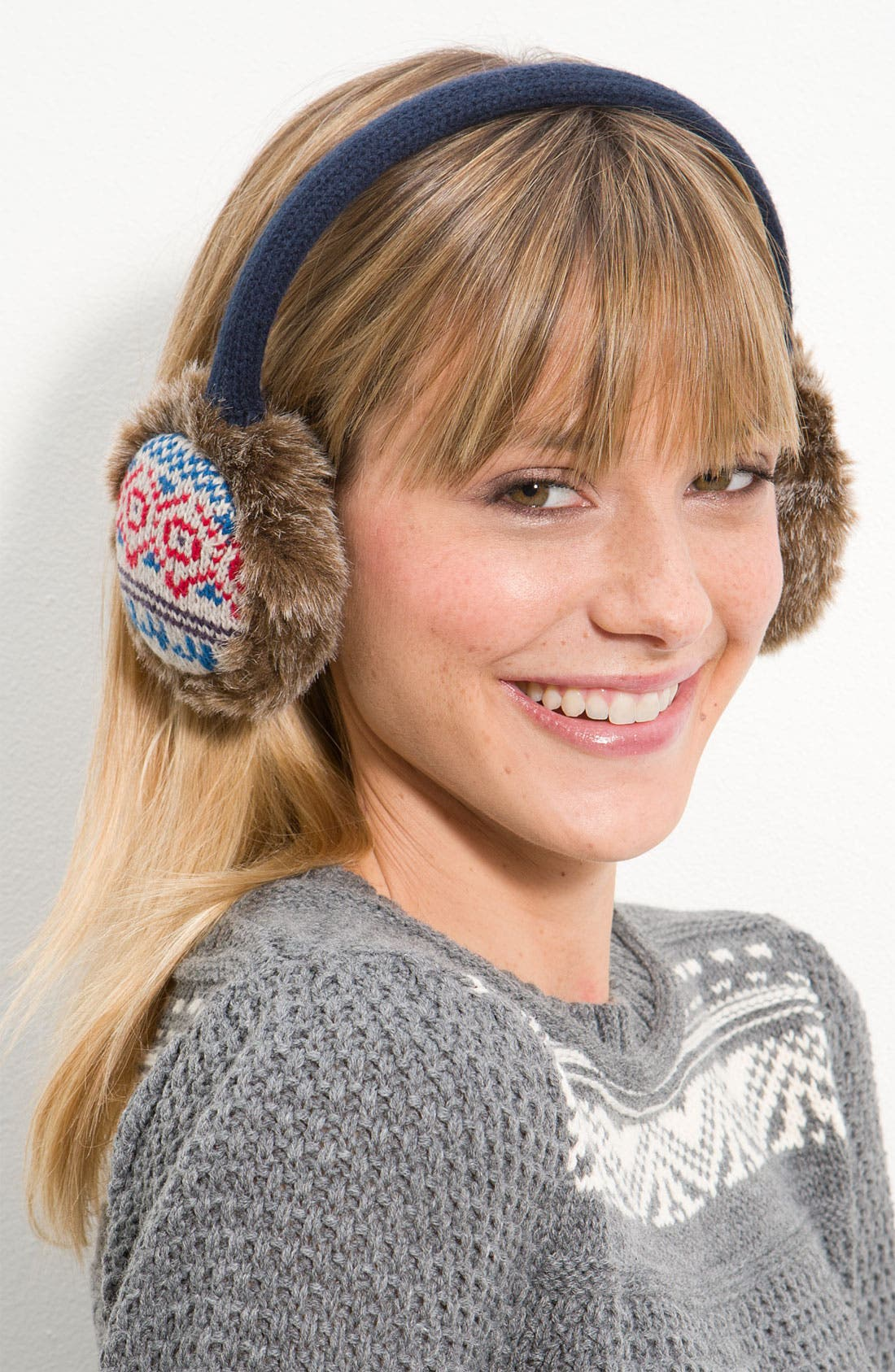 Main Image - The Accessory Collective Nordic Knit Earmuff With Faux Fur Trim