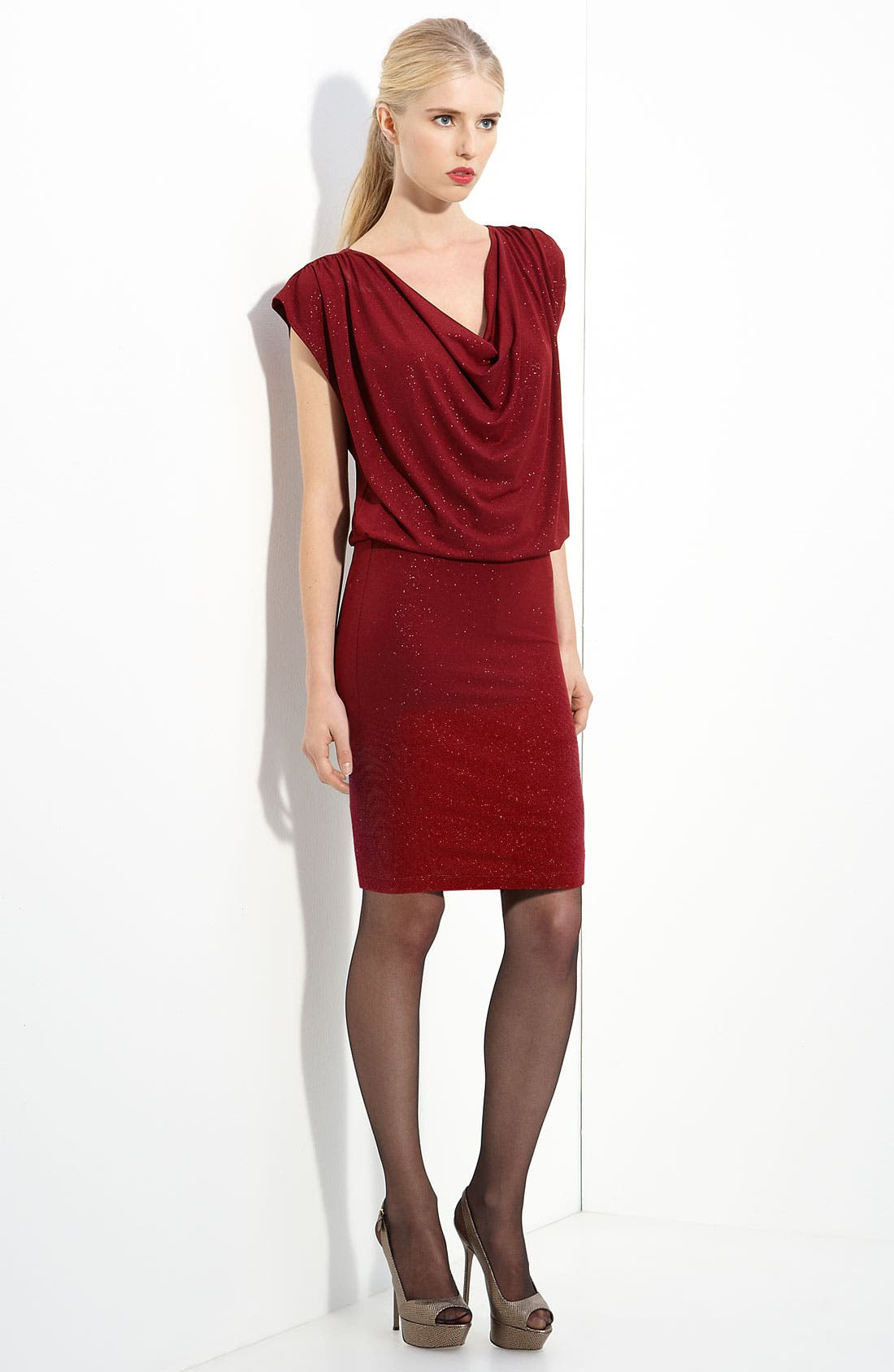 Alternate Image 1 Selected - Alice + Olivia Cowl Neck Metallic Jersey Dress