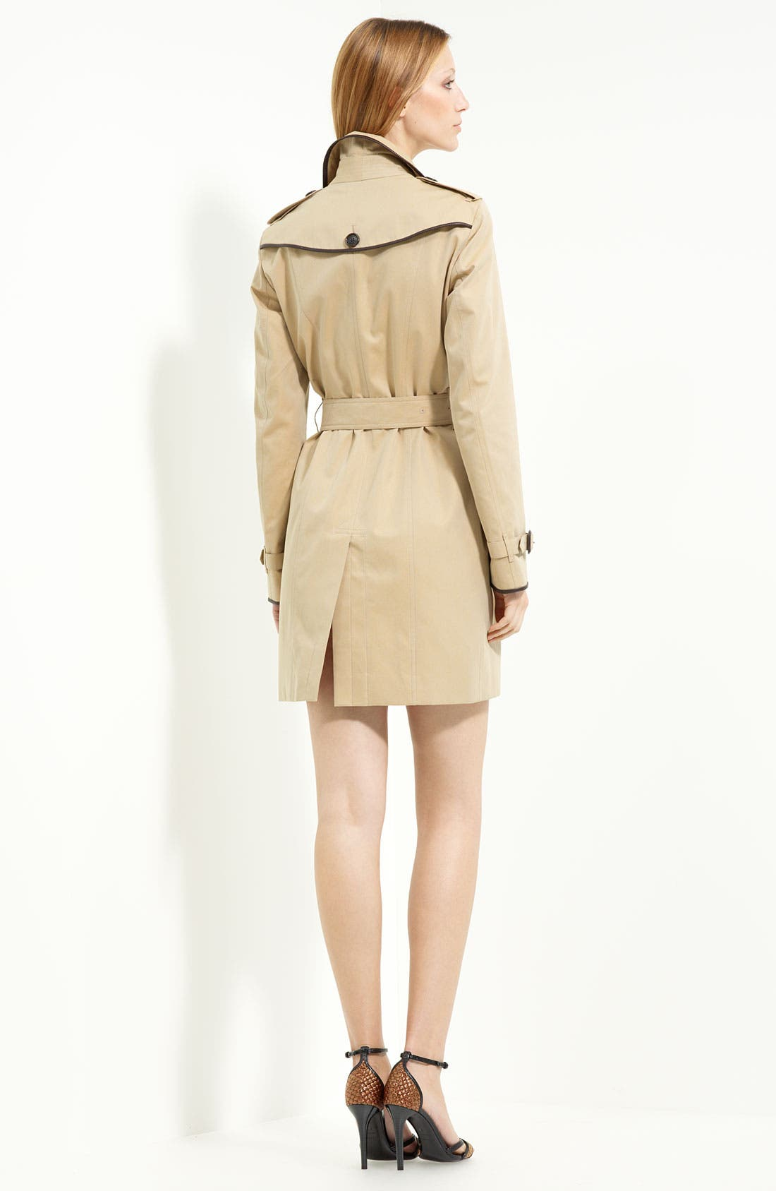 Alternate Image 2  - Burberry London Leather Piped Belted Gabardine Trench