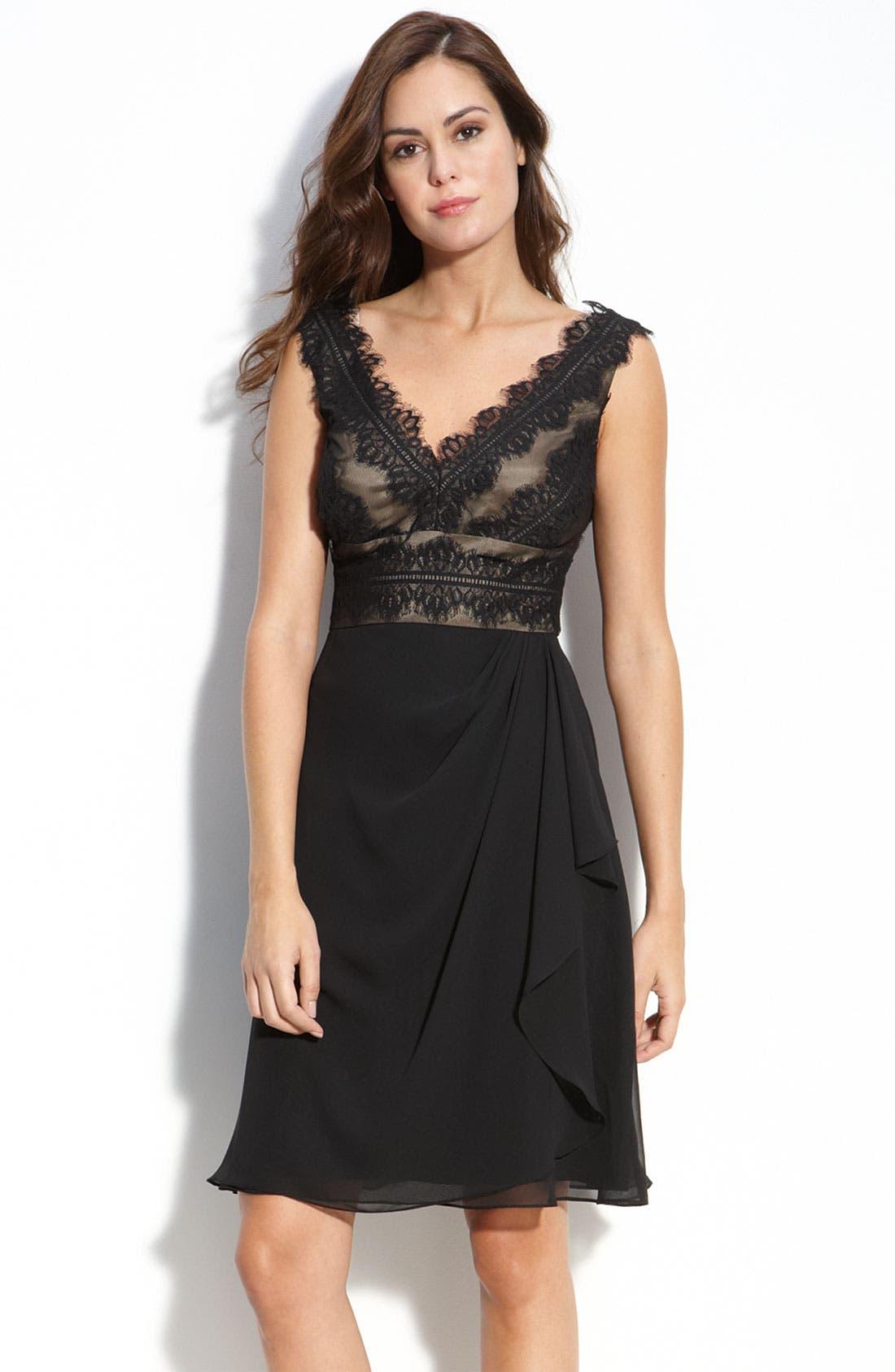 Main Image - JS Collections Lace & Chiffon Sheath Dress (Petite)