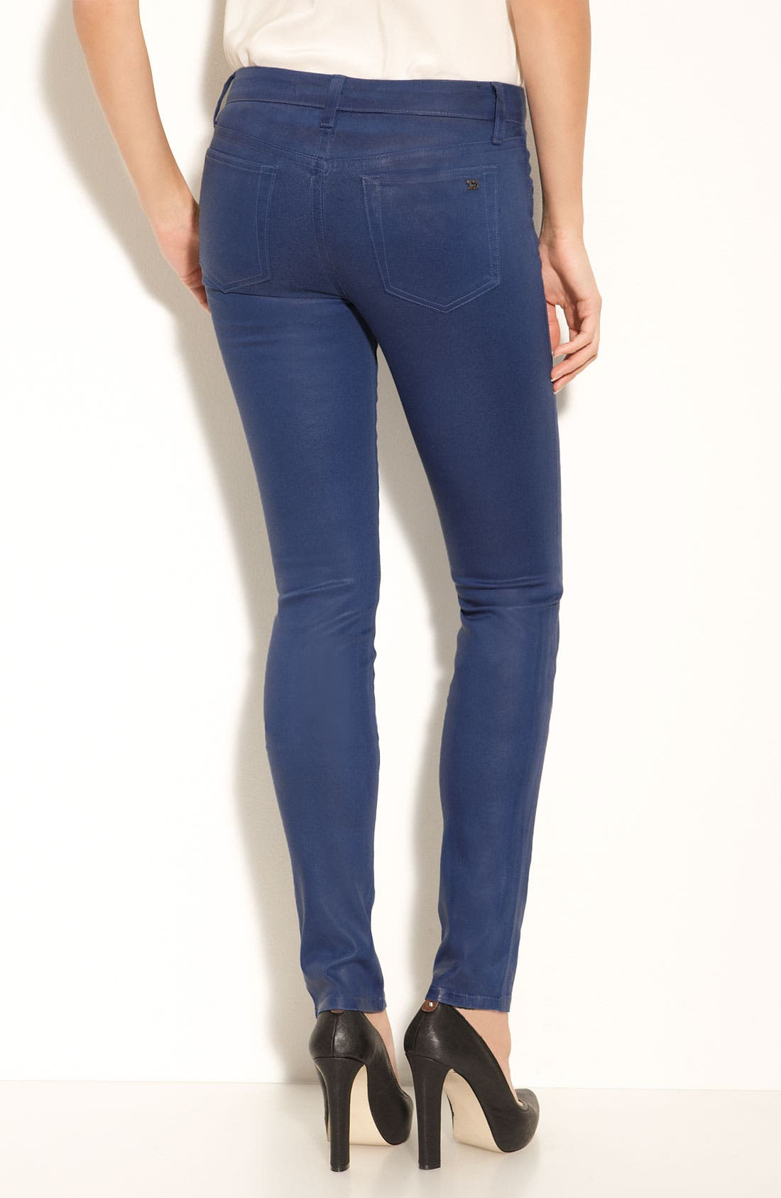 Main Image - Joe's Coated Skinny Stretch Jeans (Royal Blue Wash)