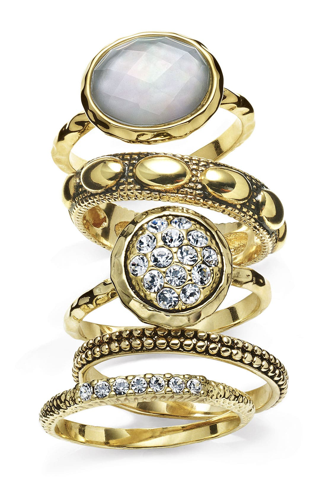 Alternate Image 3  - Ariella Collection Multi Stone Stackable Rings (Set of 5)