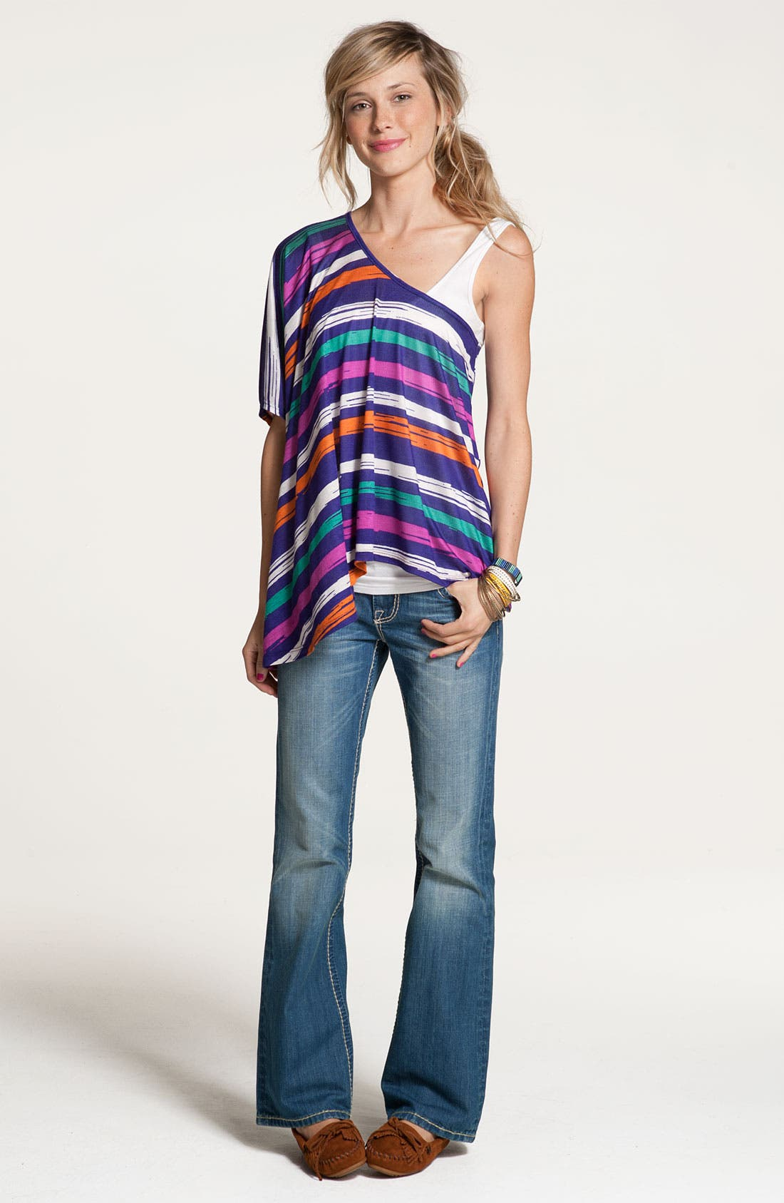 Alternate Image 1 Selected - Lush Top & Big Star Bootcut Jeans