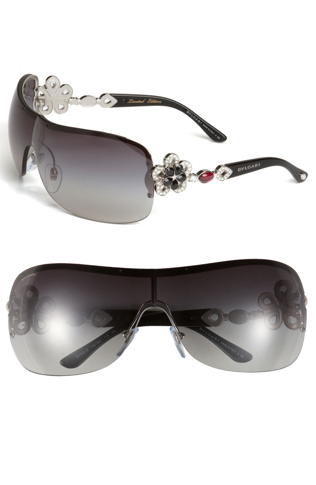 Main Image - BVLGARI 63mm Crystal Temple Rimless Shield Sunglasses
