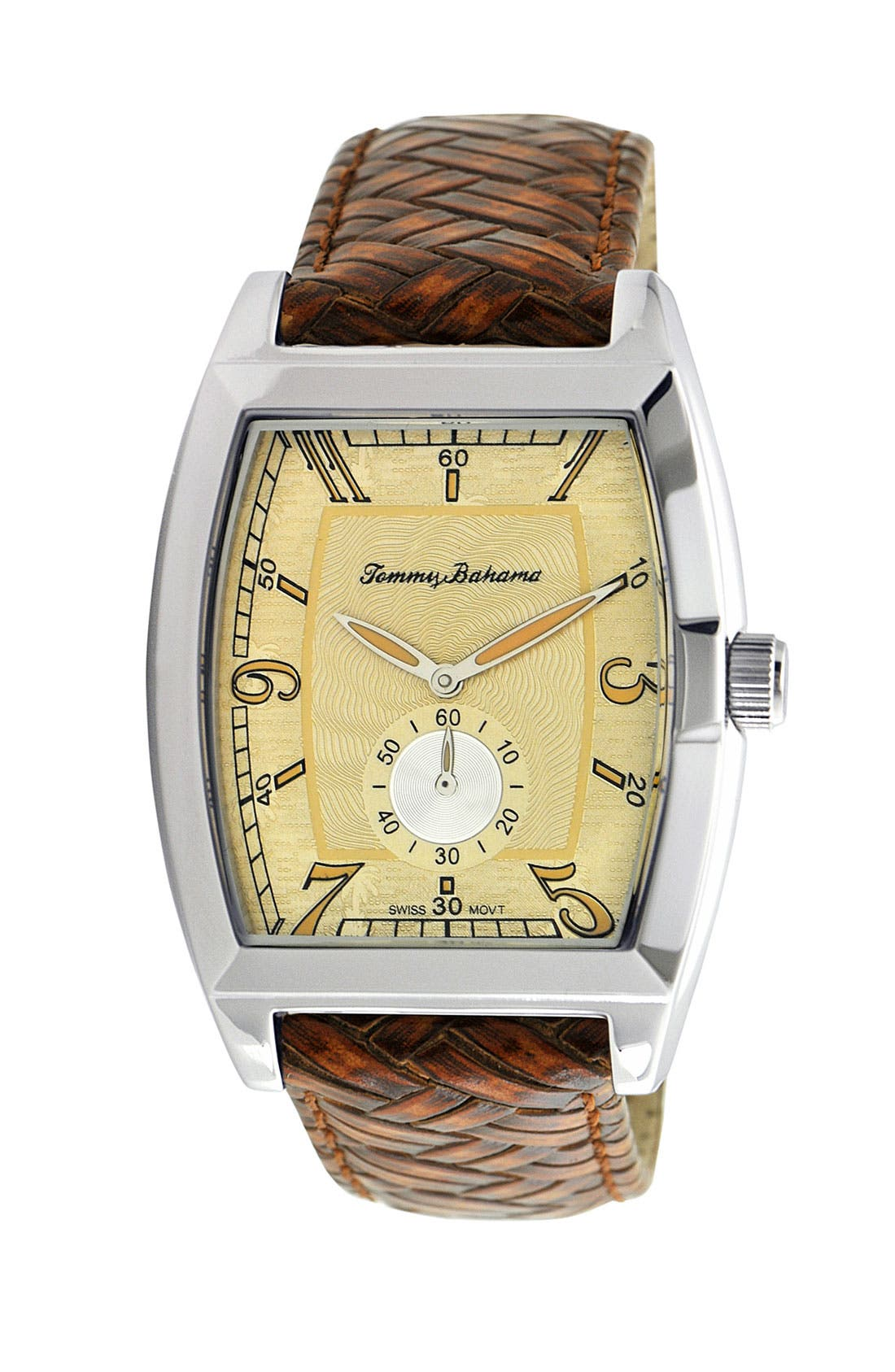 Main Image - Tommy Bahama 'Islander' Braided Leather Strap Watch, 36mm x 50mm