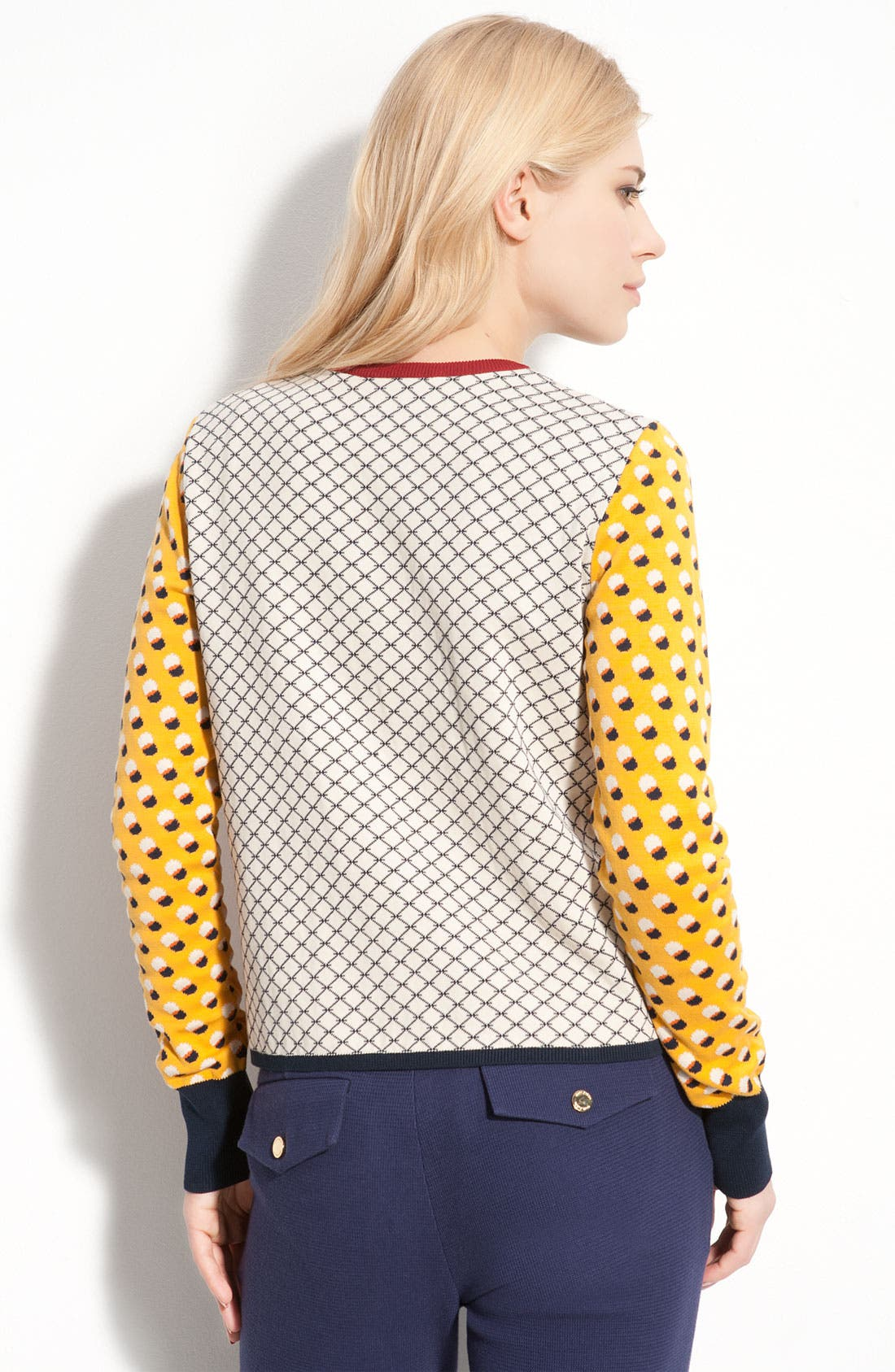 Alternate Image 2  - Tory Burch 'Aldwyn' Zip Front Mixed Print Cardigan