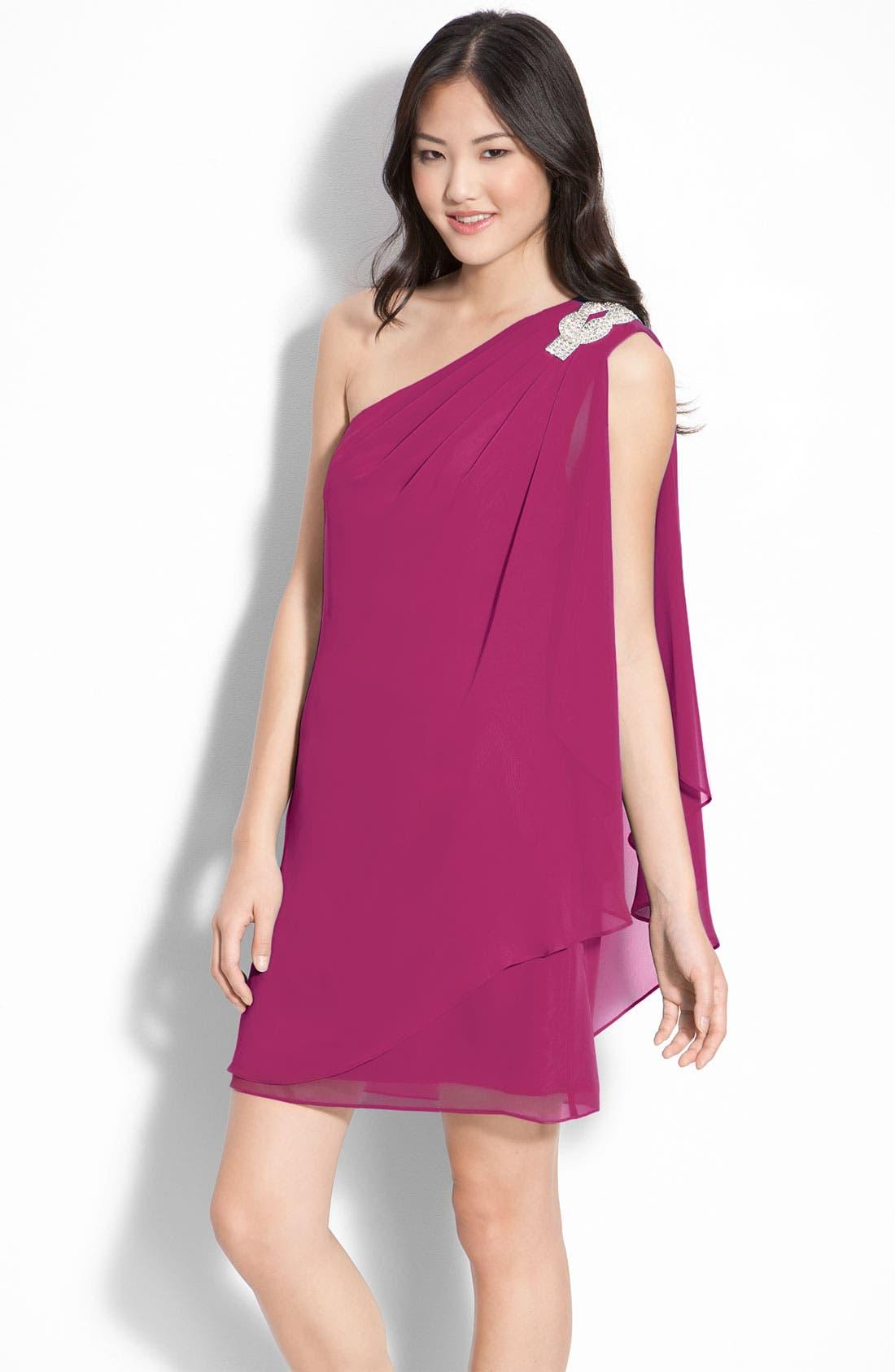 Alternate Image 1 Selected - JS Boutique Embellished One-Shoulder Chiffon Dress