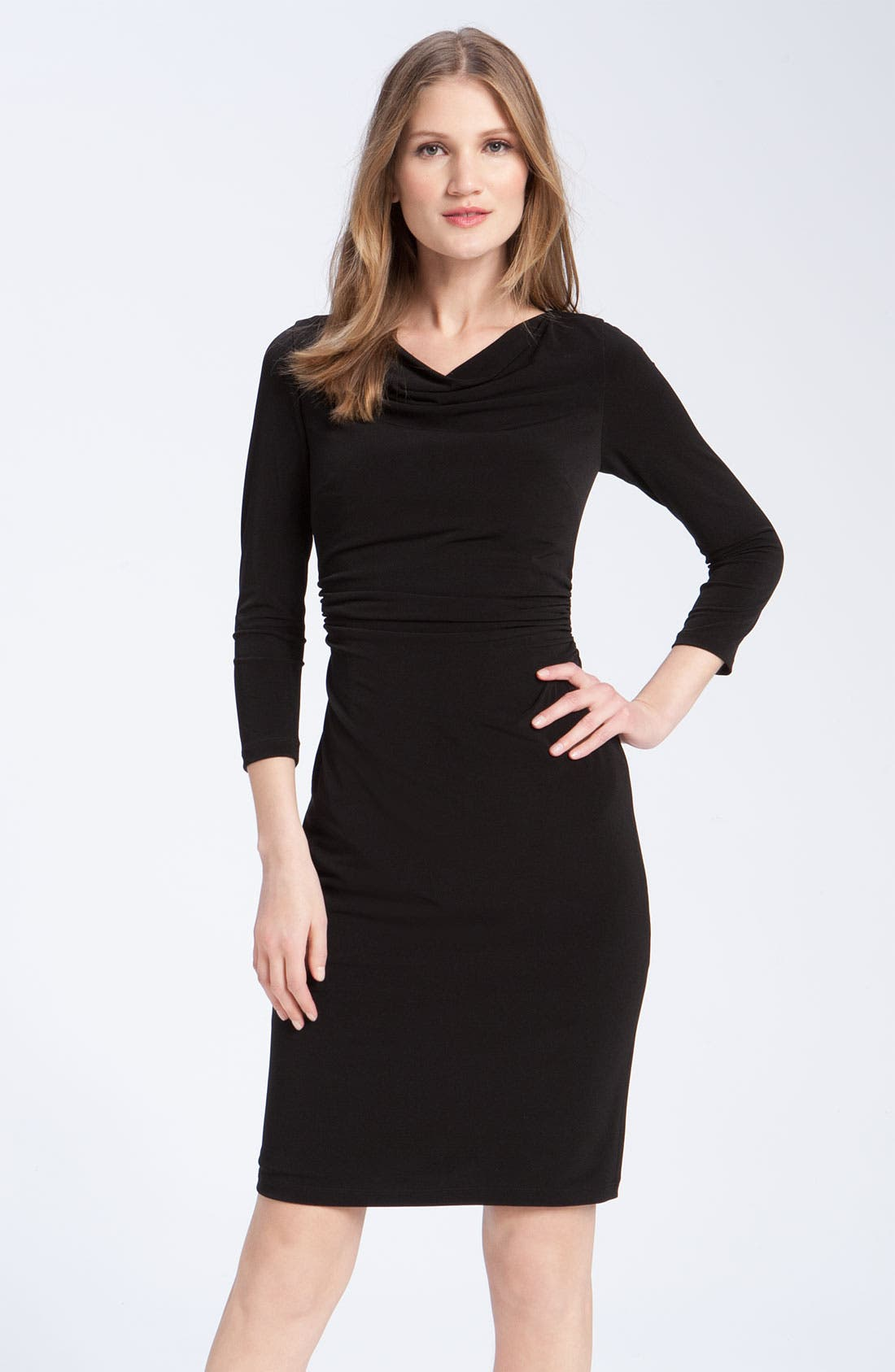 Alternate Image 1 Selected - David Meister Ruched Cowl Neck Jersey Sheath Dress