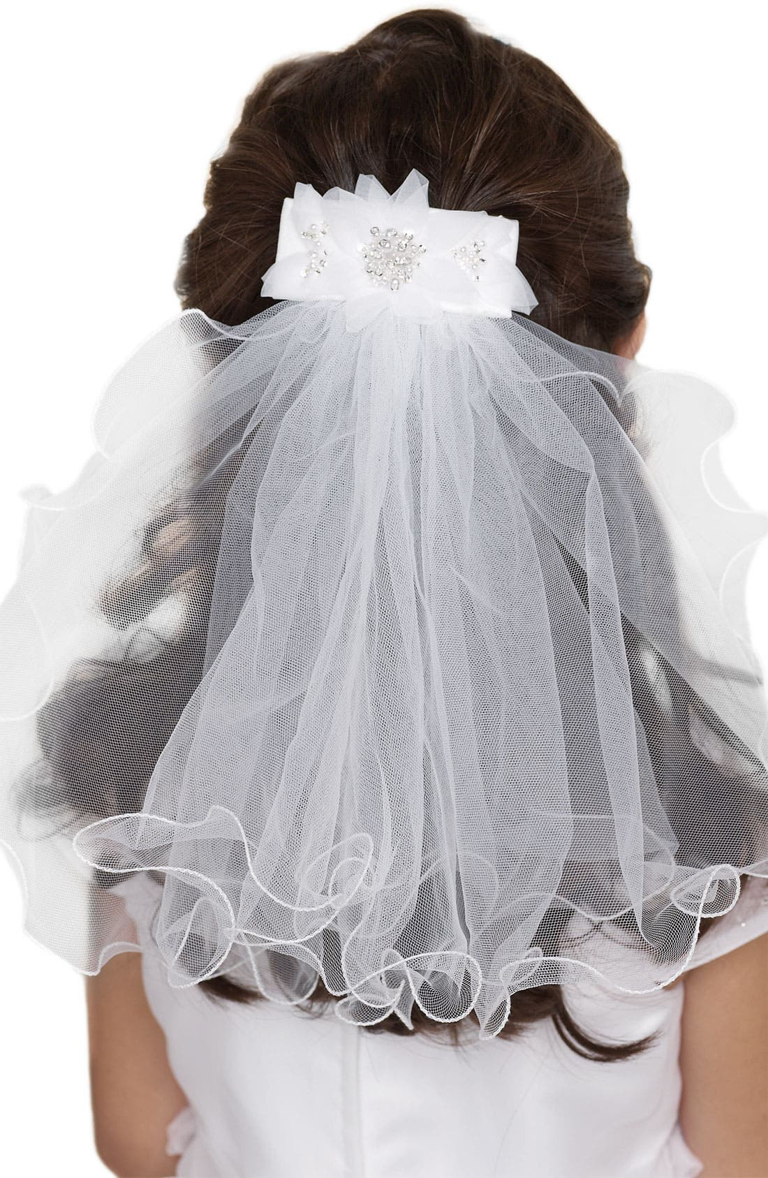 Alternate Image 1 Selected - Us Angels Beaded Hair Clip with Veil (Little Girls & Big Girls)