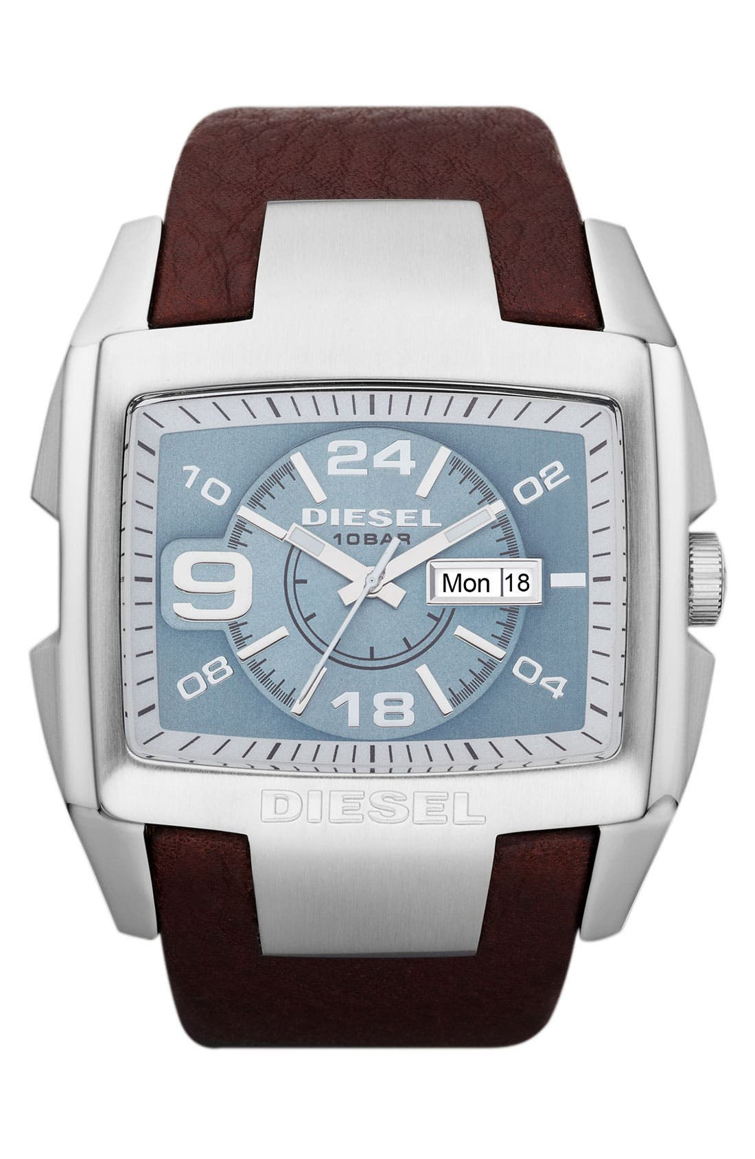 Main Image - DIESEL® 'Bugout' Leather Strap Watch, 54mm x 49mm