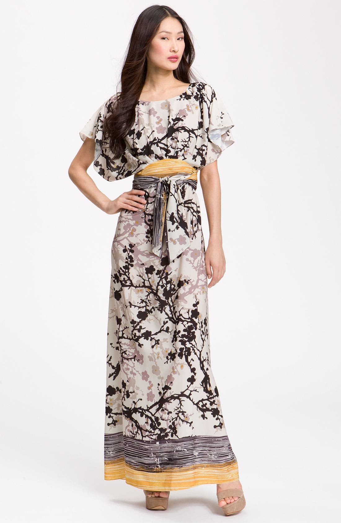 Main Image - Suzi Chin for Maggy Boutique Crêpe de Chine Maxi Dress
