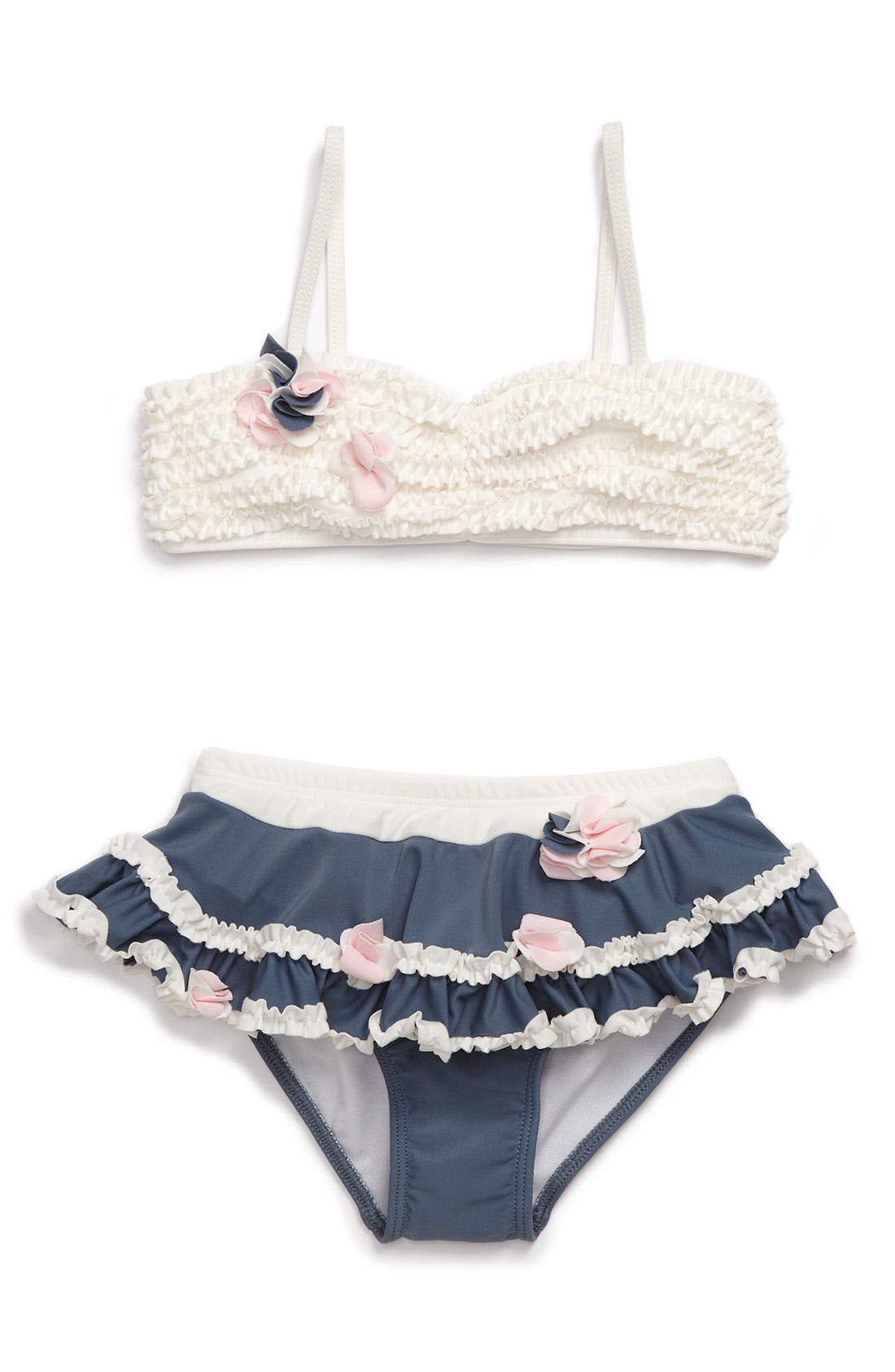 Alternate Image 1 Selected - Isobella & Chloe Ruffle Bandeau Two Piece Swimsuit (Little Girls)