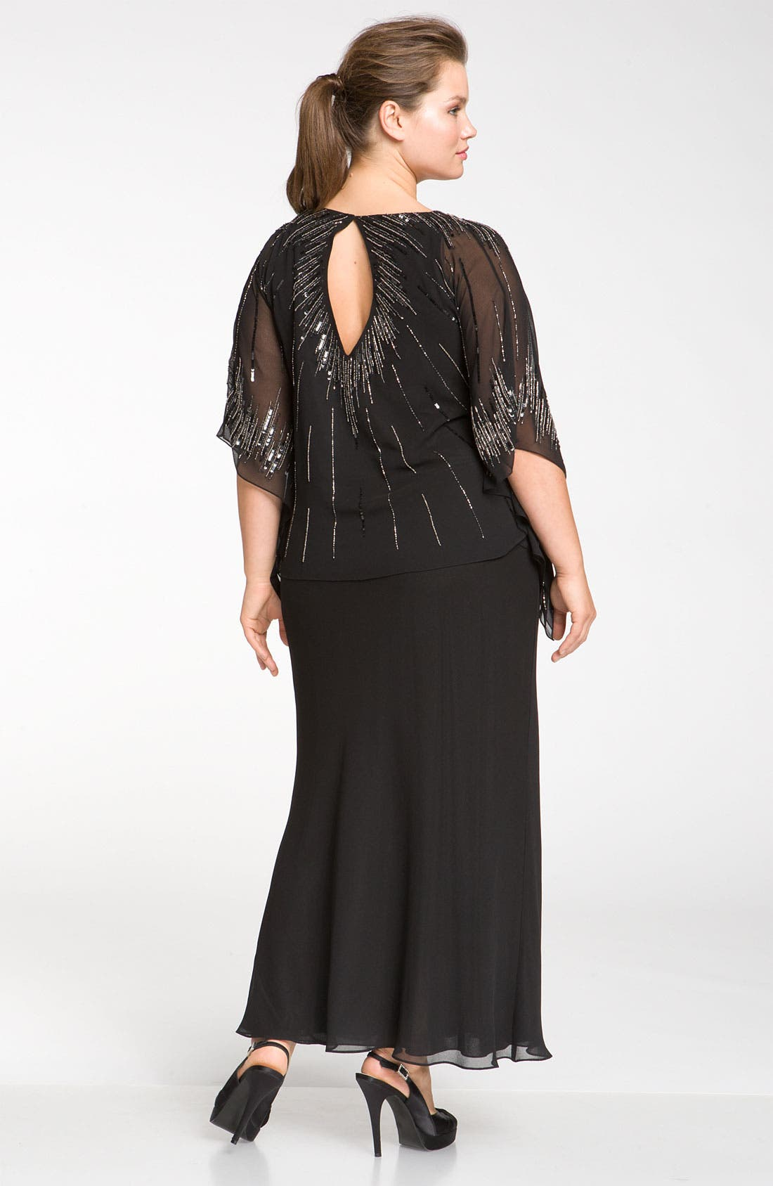 Alternate Image 2  - J Kara Beaded Chiffon Butterfly Sleeve Dress (Plus)