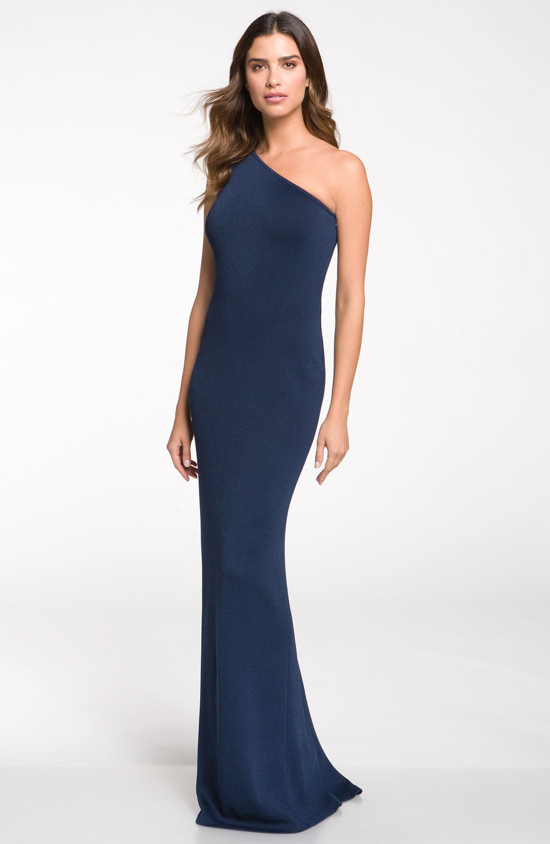 Main Image - St. John Collection One Shoulder Shimmer Milano Knit Gown