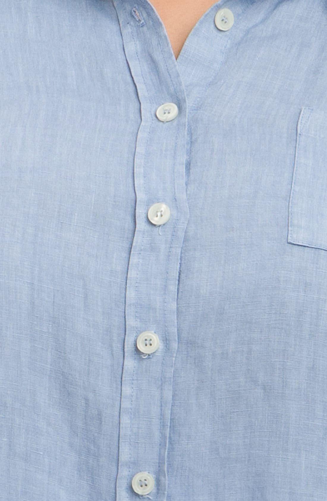 Alternate Image 3  - Allen Allen Tab Sleeve Linen Shirt (Plus)