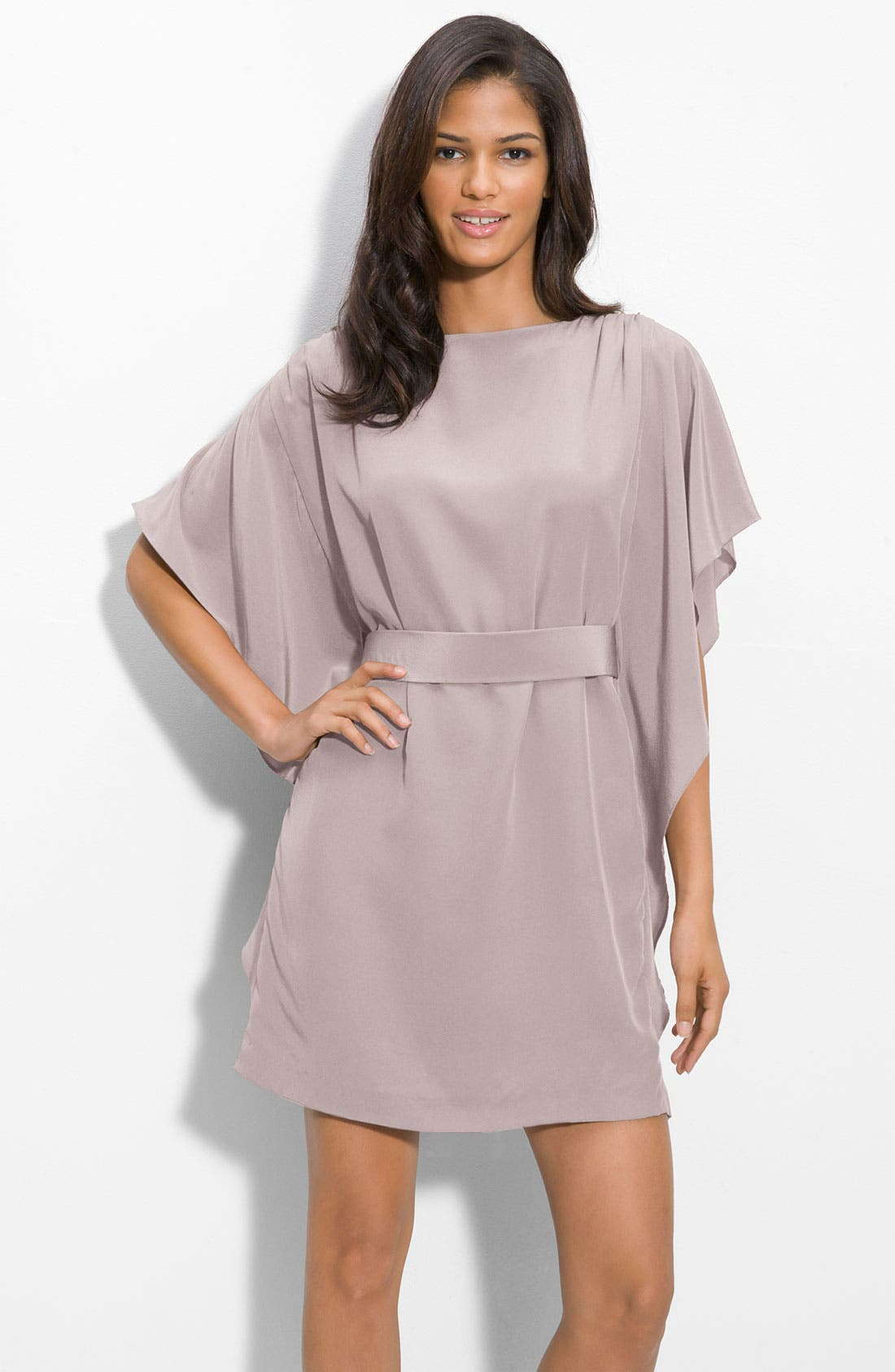 Main Image - Suzi Chin for Maggy Boutique Tie Waist Silk Dress (Petite)