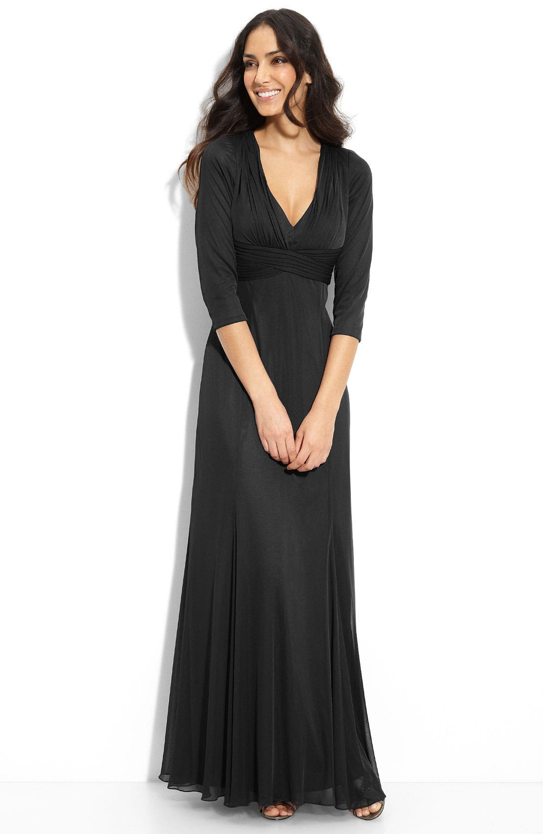 Main Image - Alex Evenings Crisscross Waist Mesh Gown (Petite)