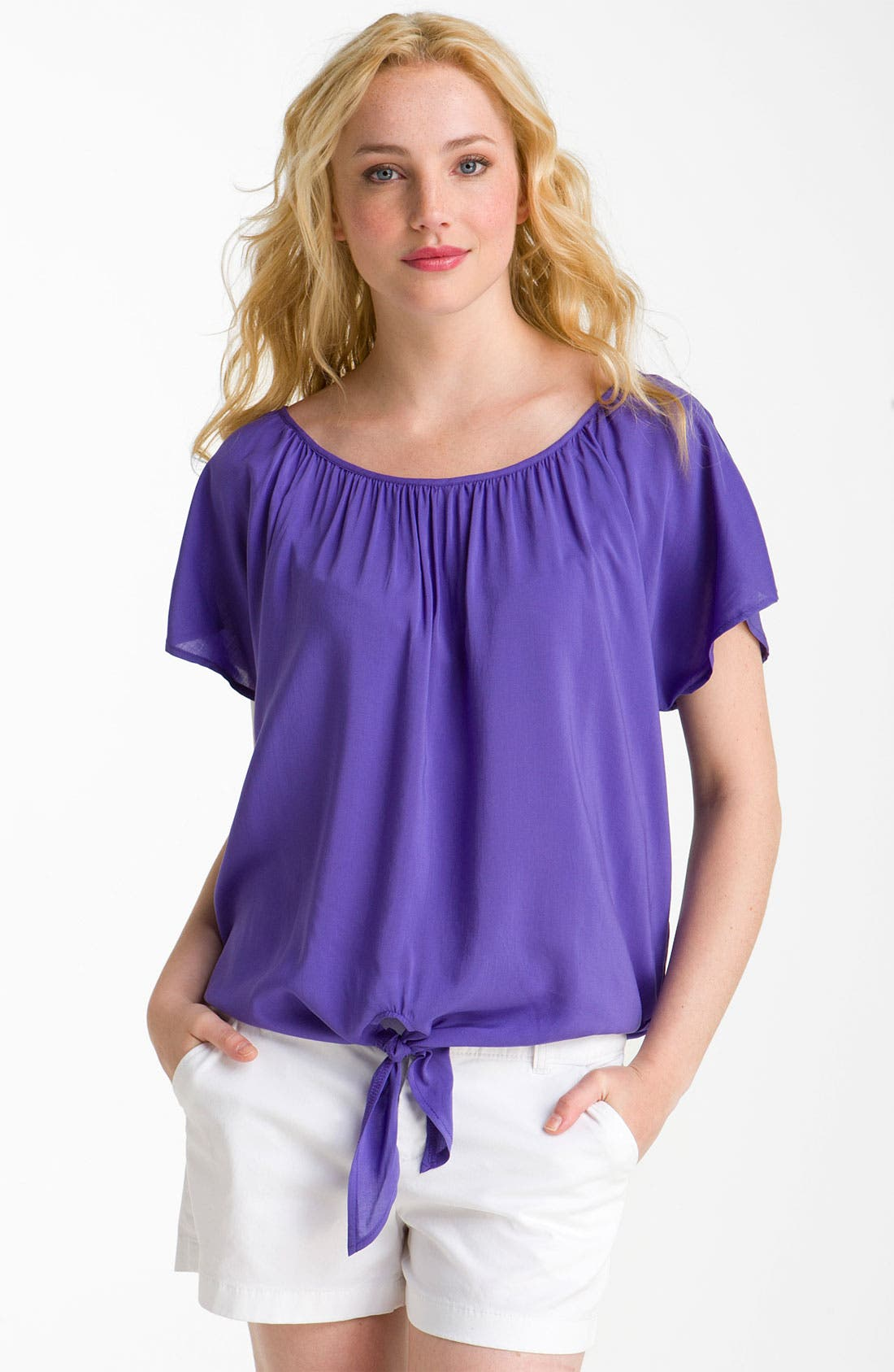 Alternate Image 1 Selected - MOD.lusive Tie Front Flutter Sleeve Top (Nordstrom Exclusive)
