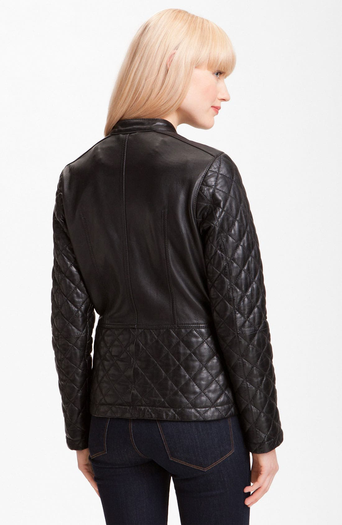 Alternate Image 2  - Kenneth Cole New York Quilted Leather Scuba Jacket