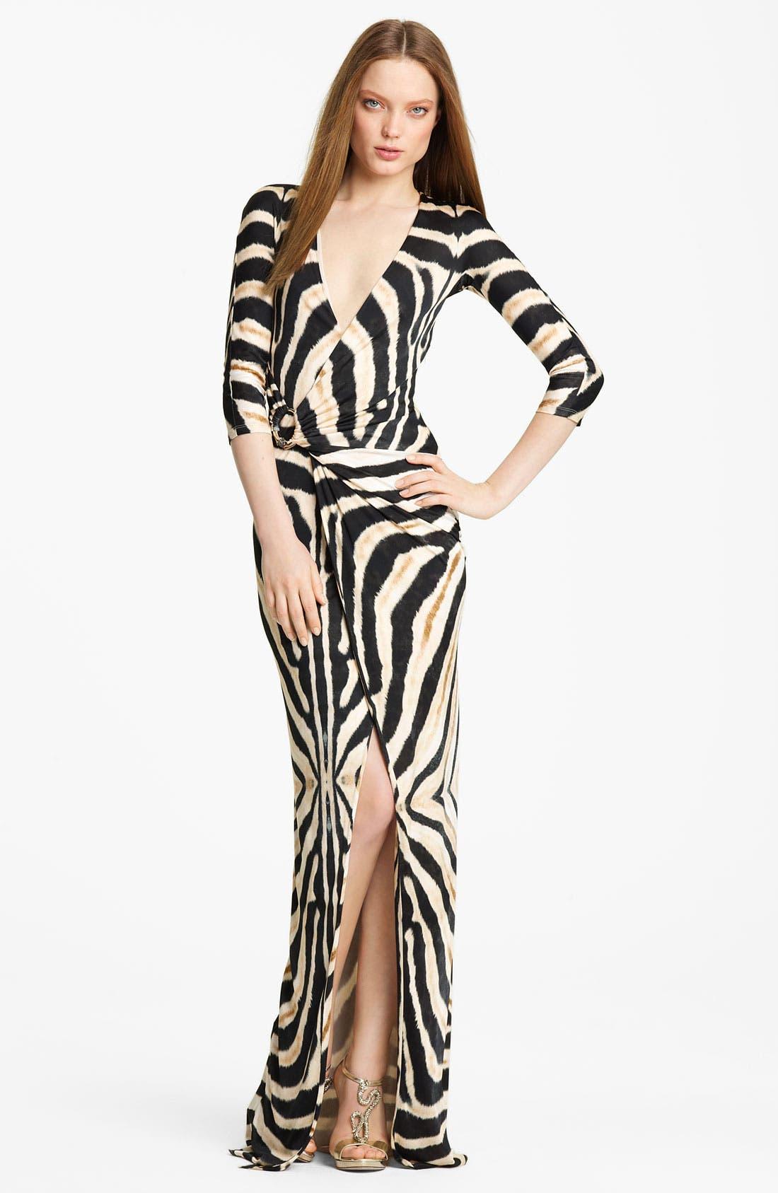 Main Image - Roberto Cavalli Zebra Print Jersey Gown