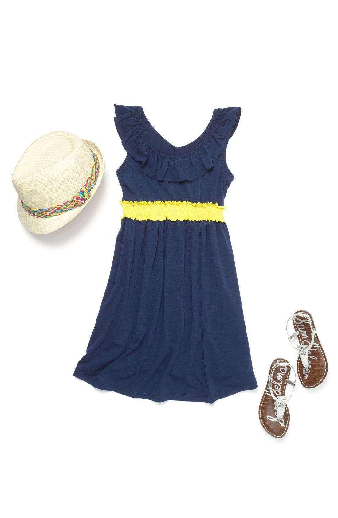 Alternate Image 2  - Zunie Ruffle Neck Dress (Little Girls & Big Girls)