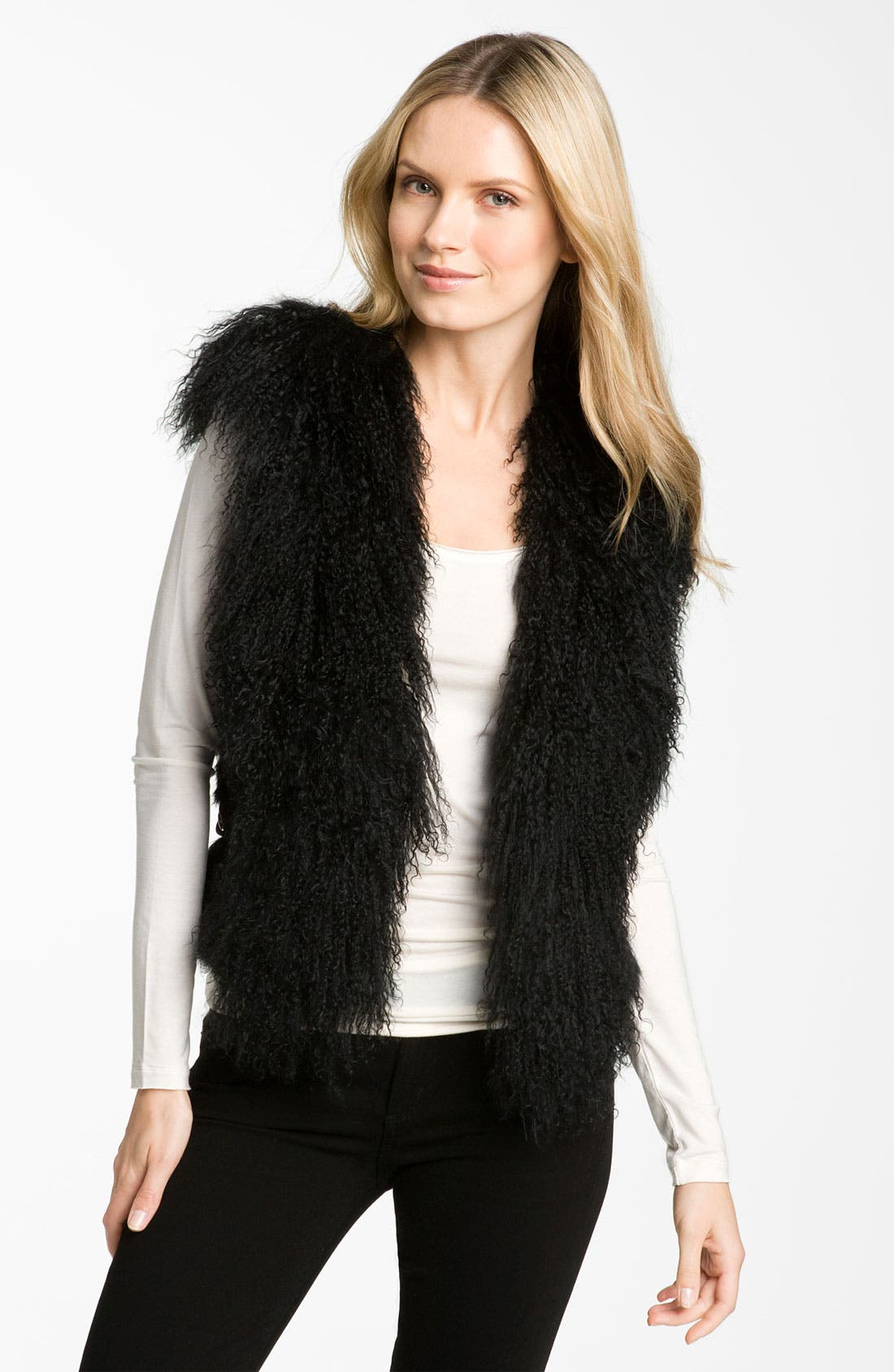 Main Image - bebe Genuine Lamb & Rabbit Fur Vest