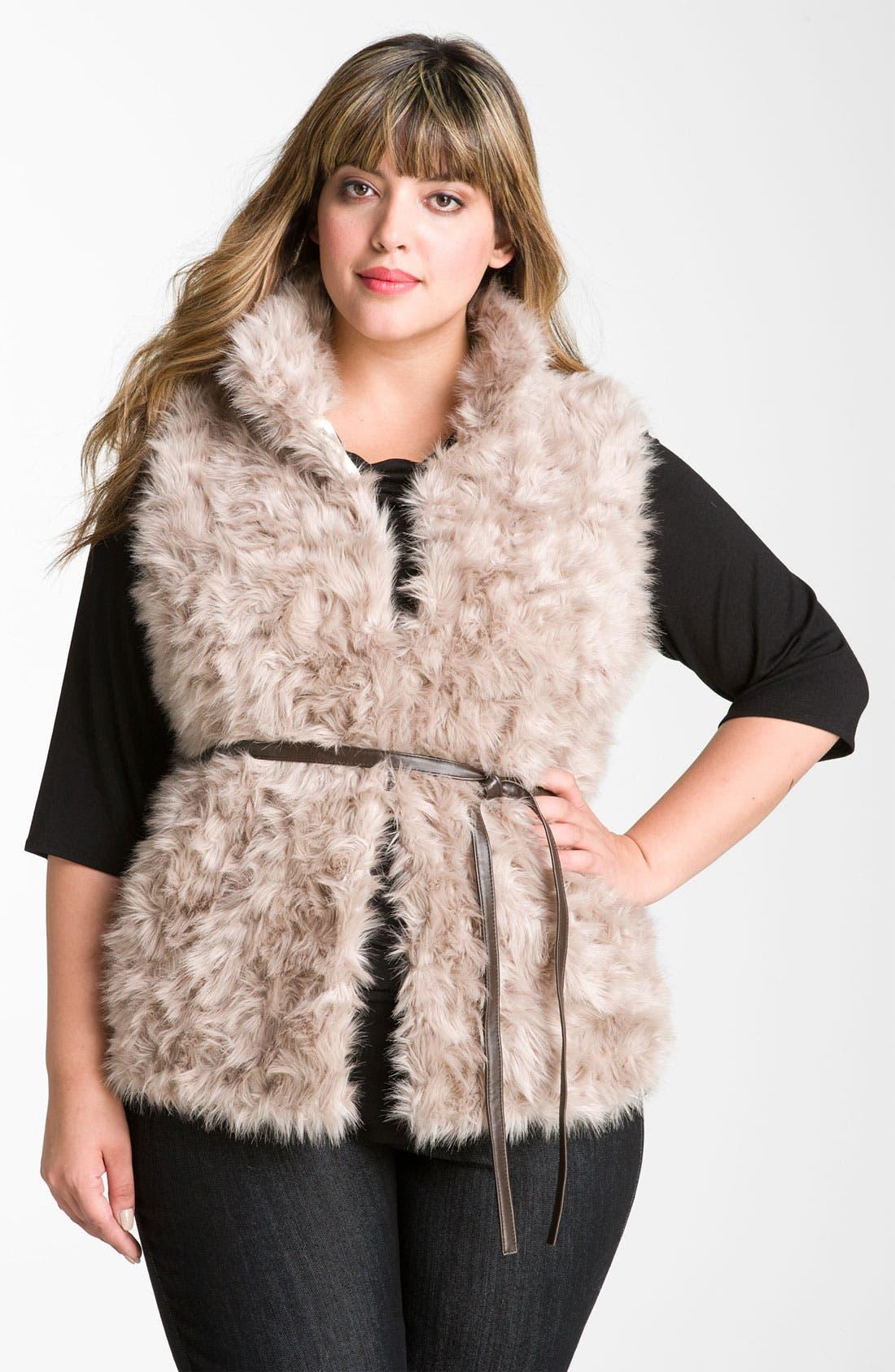 Alternate Image 2  - Damselle Stand Collar Faux Fur Vest (Plus Size) (Nordstrom Online Exclusive)