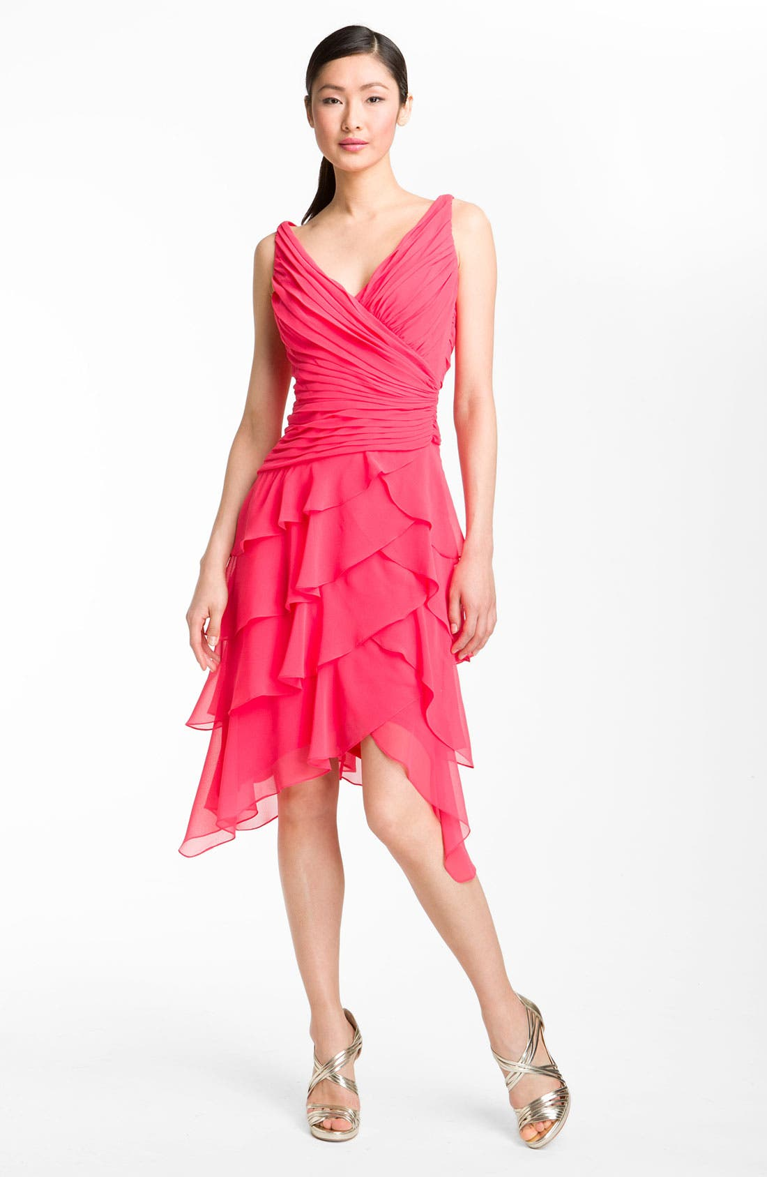 Alternate Image 1 Selected - T by Tadashi V-Neck Tiered Ruffle Skirt Chiffon Dress