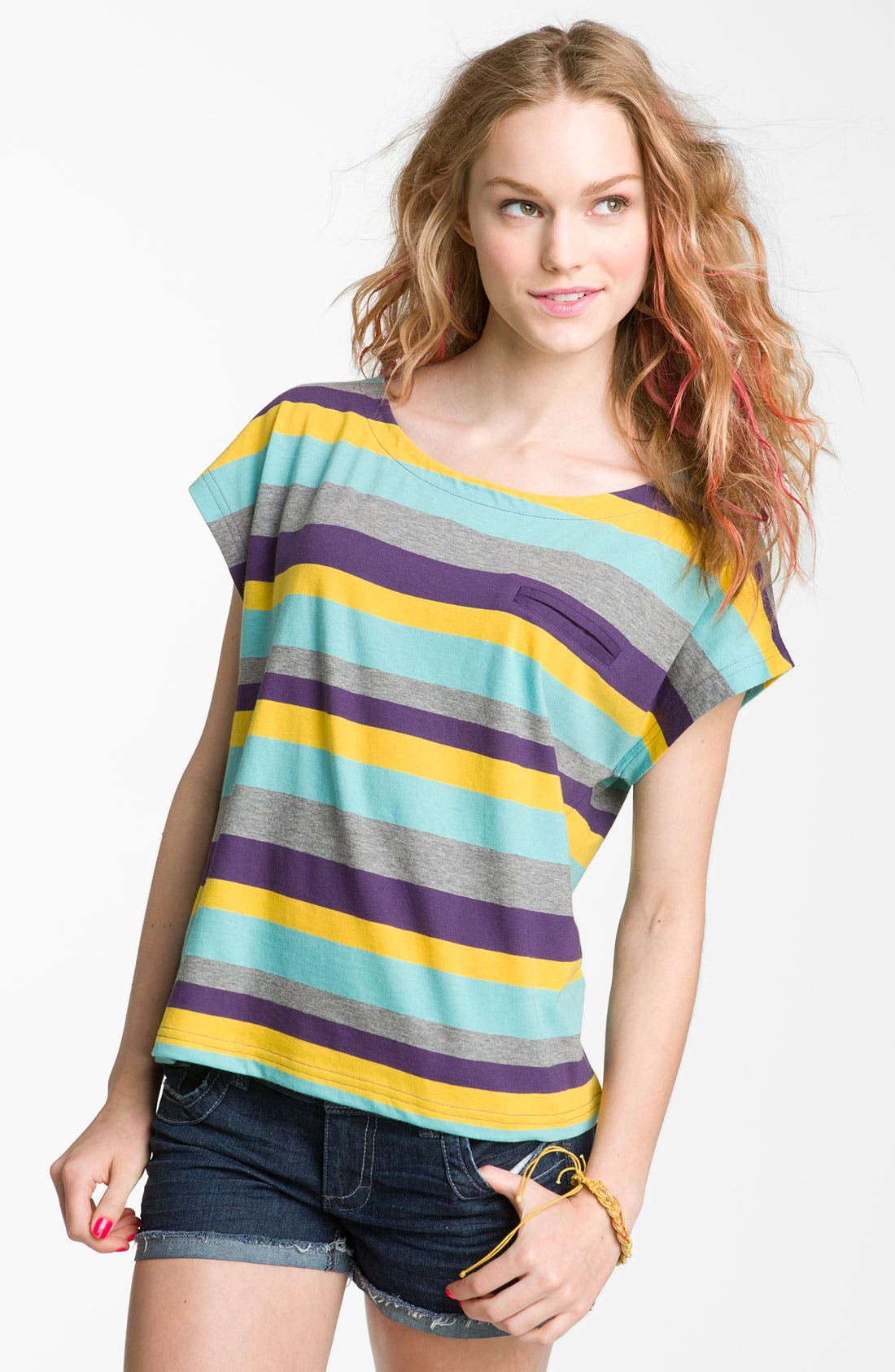 Alternate Image 1 Selected - Rubbish® Striped Boxy Tee (Juniors)
