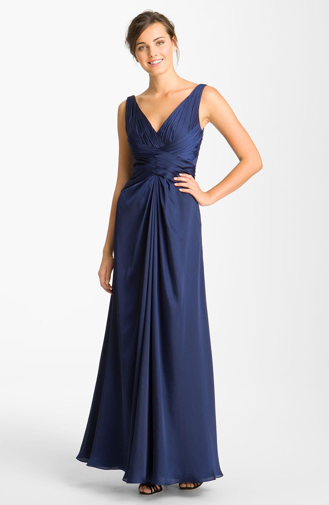Main Image - ML Monique Lhuillier Bridesmaids V-Neck Charmeuse Gown (Nordstrom Exclusive)