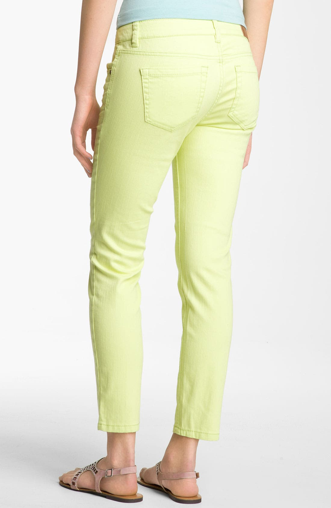 Main Image - Fire Color Skinny Ankle Jeans (Juniors)
