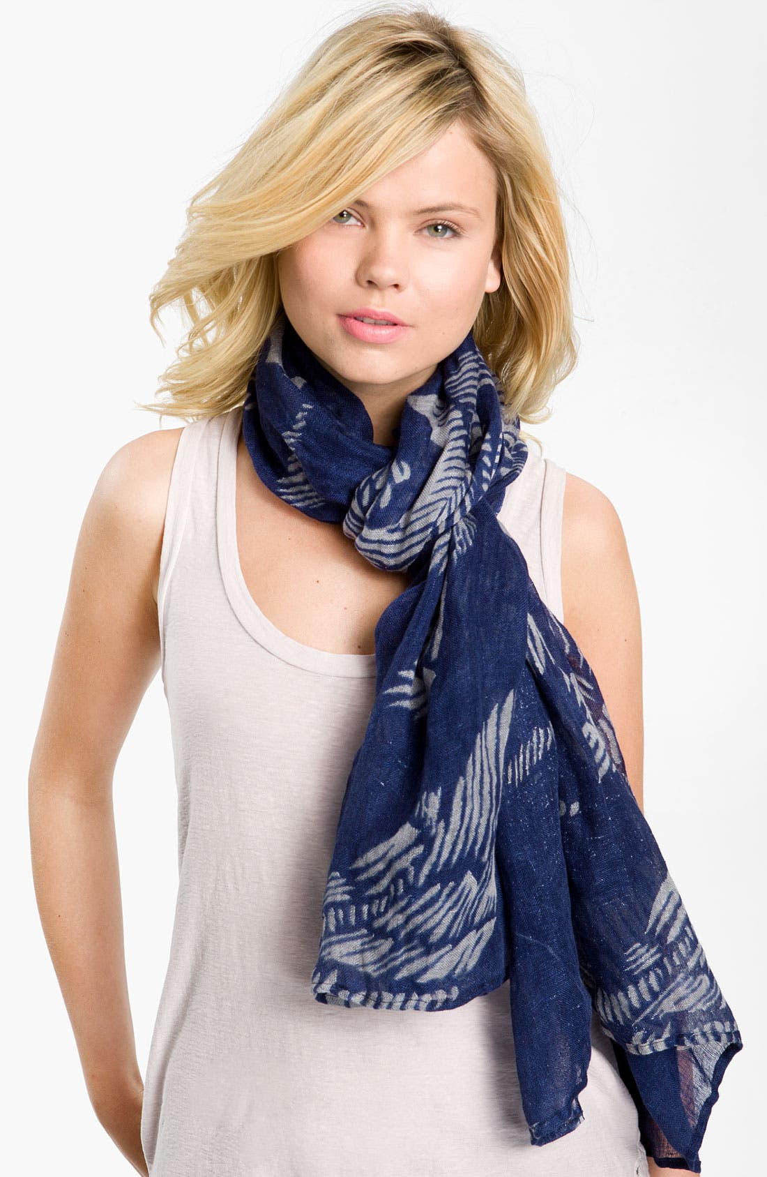 Alternate Image 1 Selected - Yarnz 'Woodcut Horses' Linen Scarf