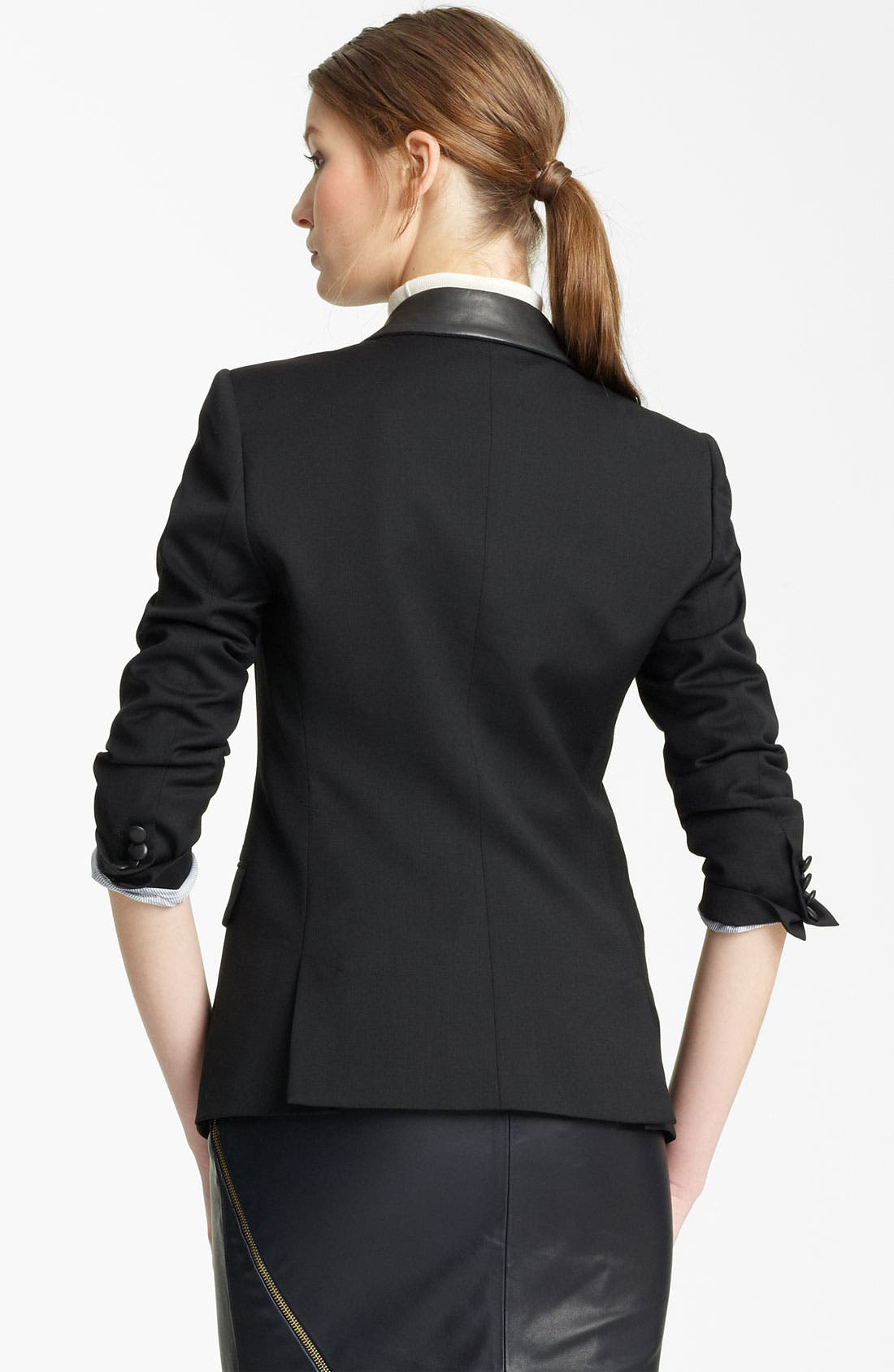 Alternate Image 2  - Band of Outsiders Leather Trim Blazer