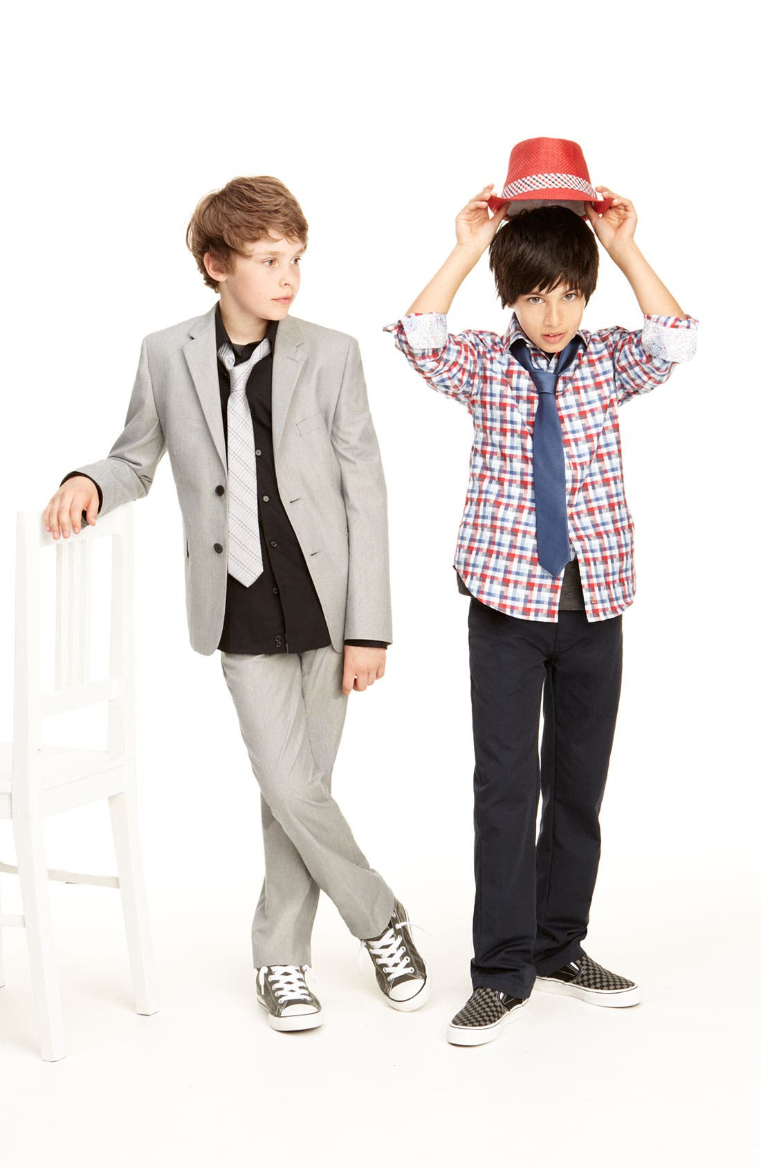 Alternate Image 2  - C2 by Calibrate Suit Jacket, Dress Shirt & Trousers (Big Boys)