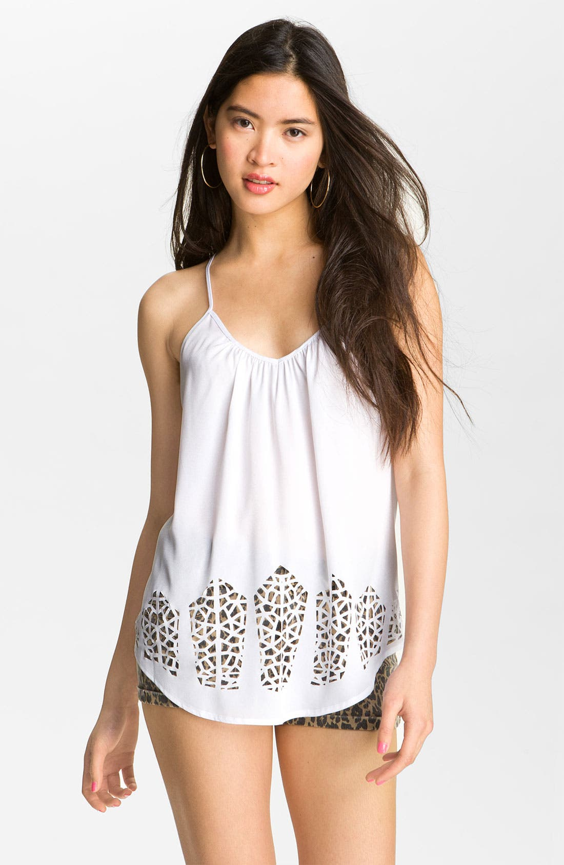 Alternate Image 1 Selected - Love on a Hanger Laser Cut Camisole (Juniors)