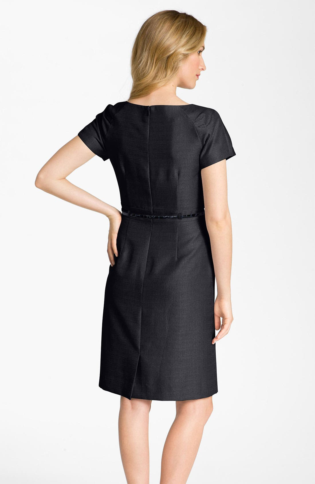 Alternate Image 2  - Tahari by Arthur S. Levine Asymmetrical Neck Belted Jacquard Dress