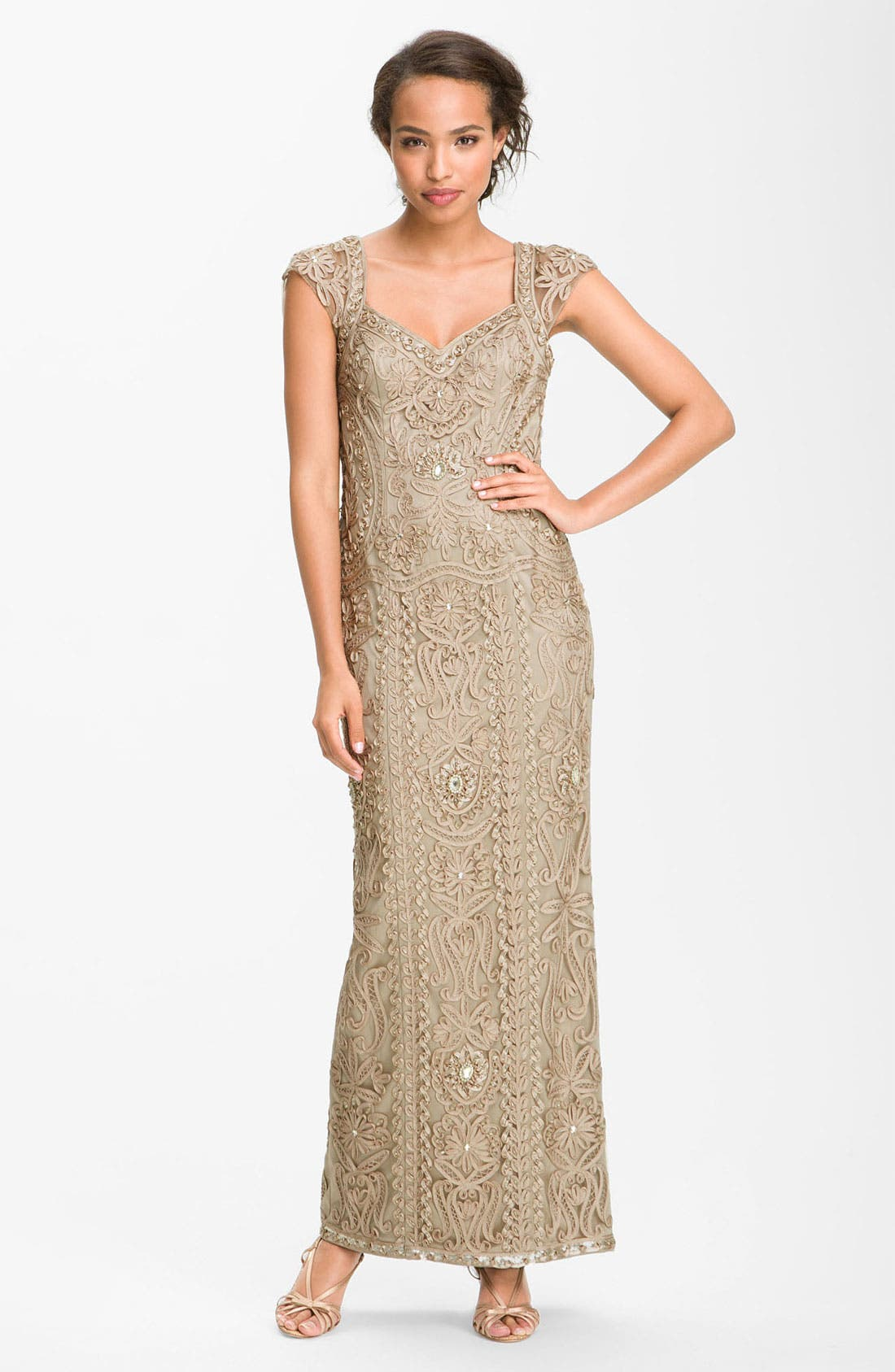 Alternate Image 1 Selected - Sue Wong Open Back Embroidered Gown