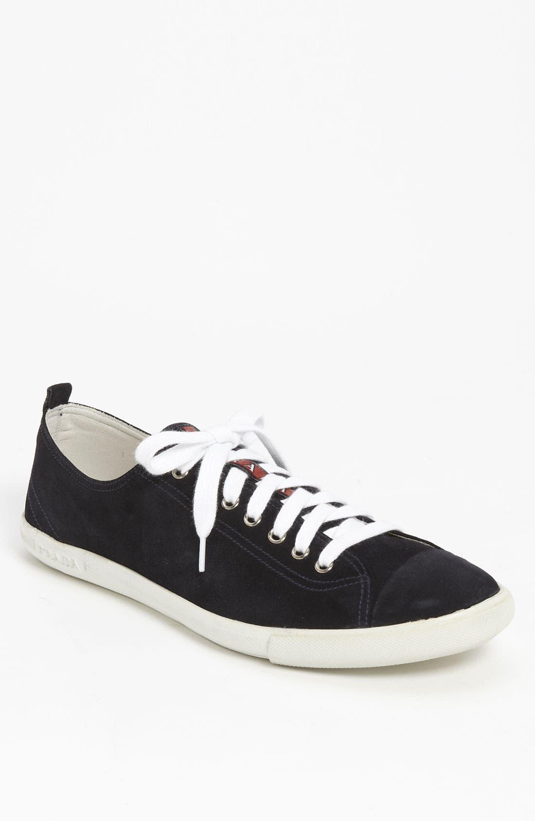 Alternate Image 1 Selected - Prada Low Profile Suede Sneaker