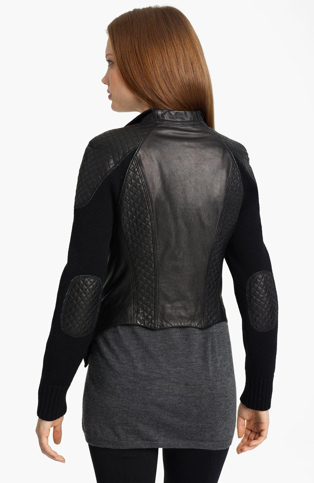 Alternate Image 2  - Yigal Azrouël Drape Front Leather & Knit Jacket
