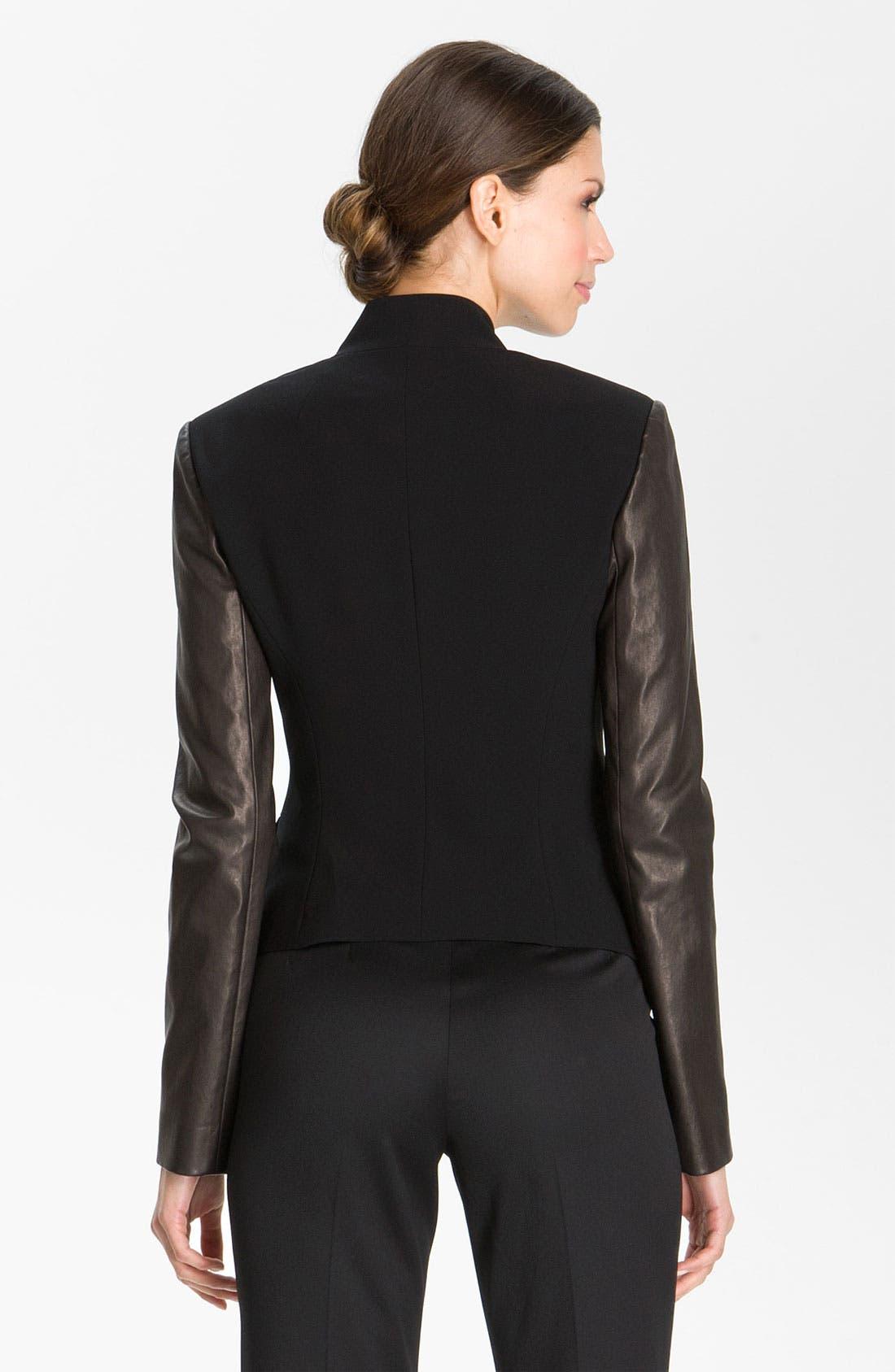 Alternate Image 3  - St. John Collection Crepe Marocain & Leather Jacket