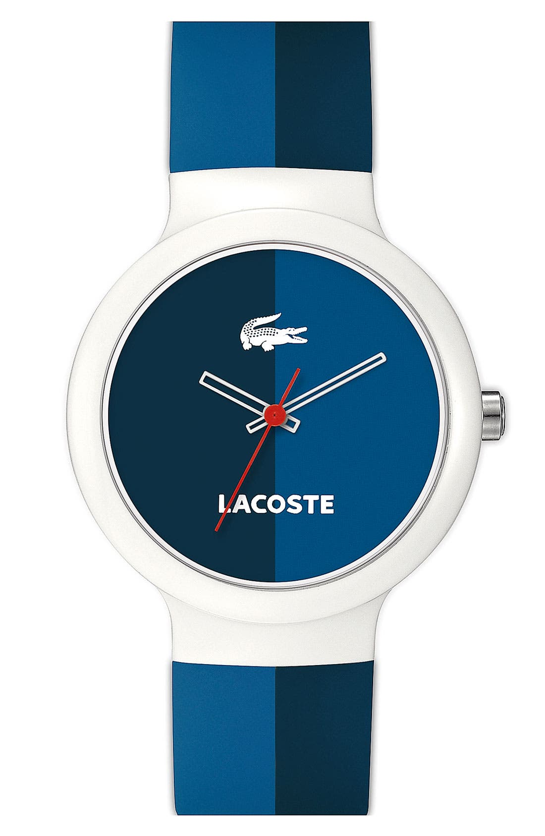 Alternate Image 1 Selected - Lacoste 'Goa' Stripe Silicone Strap Watch, 40mm